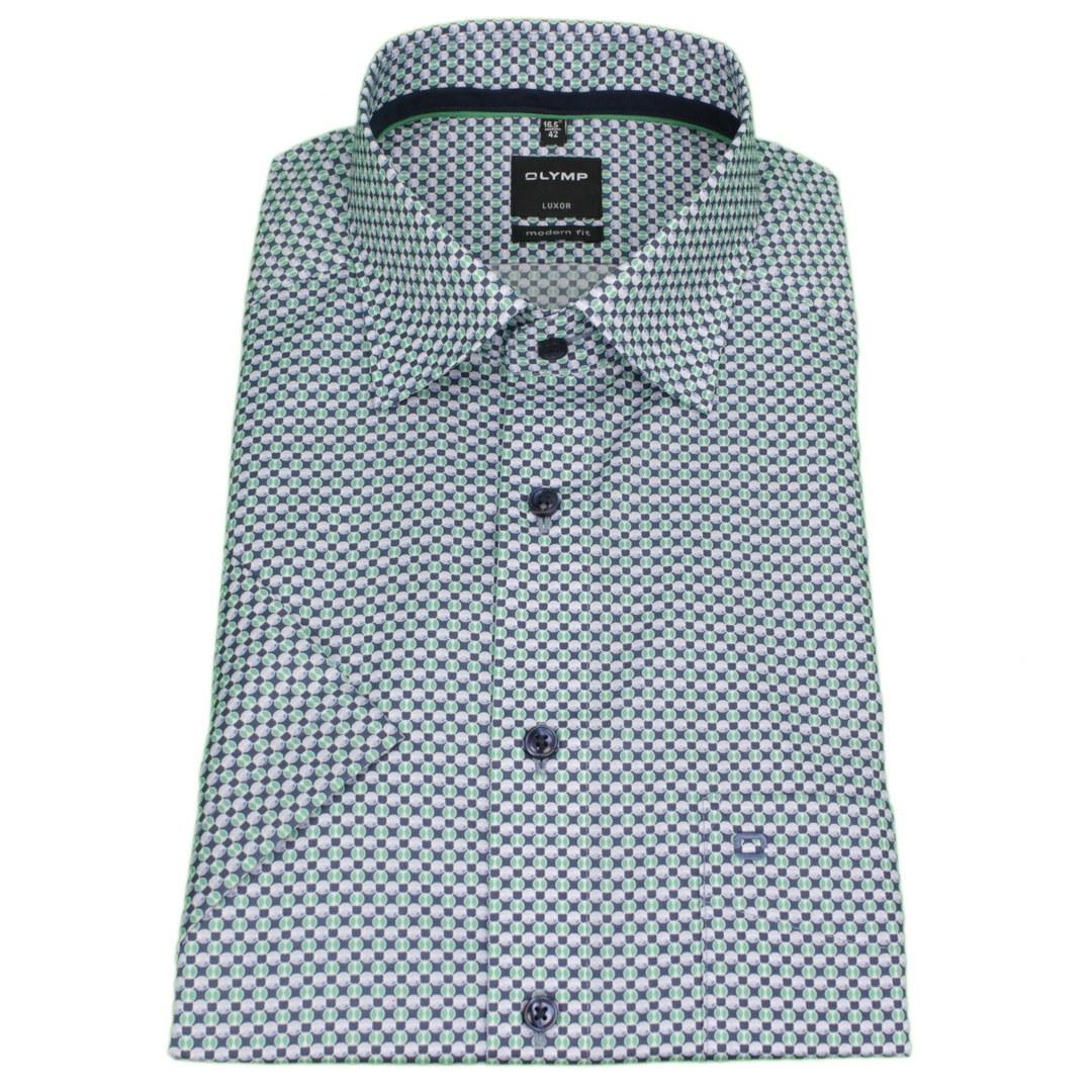 Olymp Luxor Hemd kurzam Kurzarmhemd Businesshemd Modern fit gemustert 121772 45