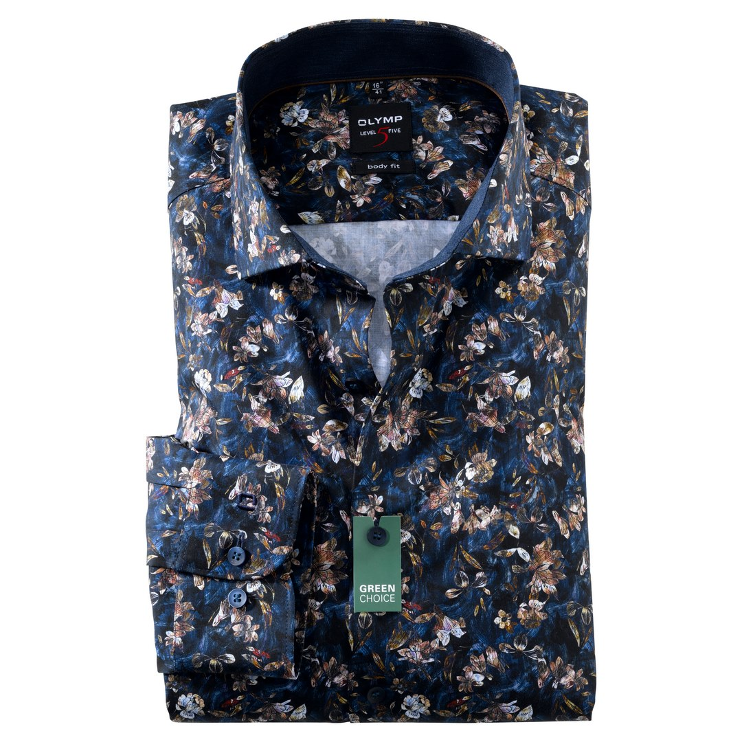 Olymp Level Five Body Fit langarm Hemd Businesshemd Blumen Muster 209284 18 marine