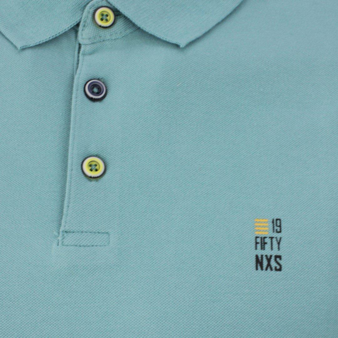 No Excess Herren Polo Shirt Pique blau grün unifarben 11390160S 153 Pacific