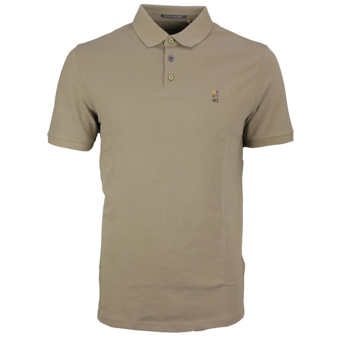 No Excess Herren Polo Shirt Pique Khaki grün unifarben 11390160S 043 Khaki