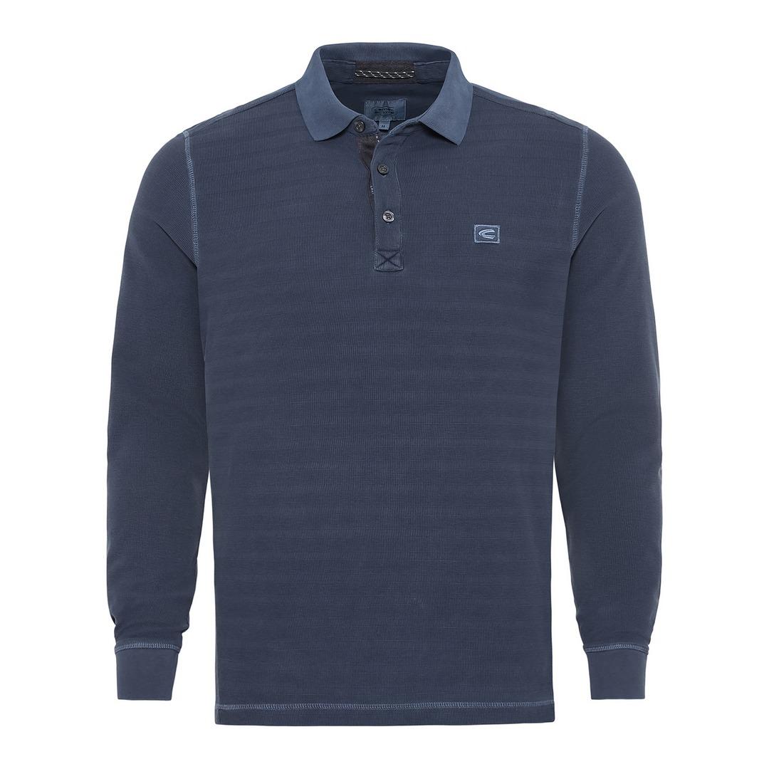 Camel active Rugby Shirt Langarm Shirt Poloshirt blau 6P01409361 47 Night Blue