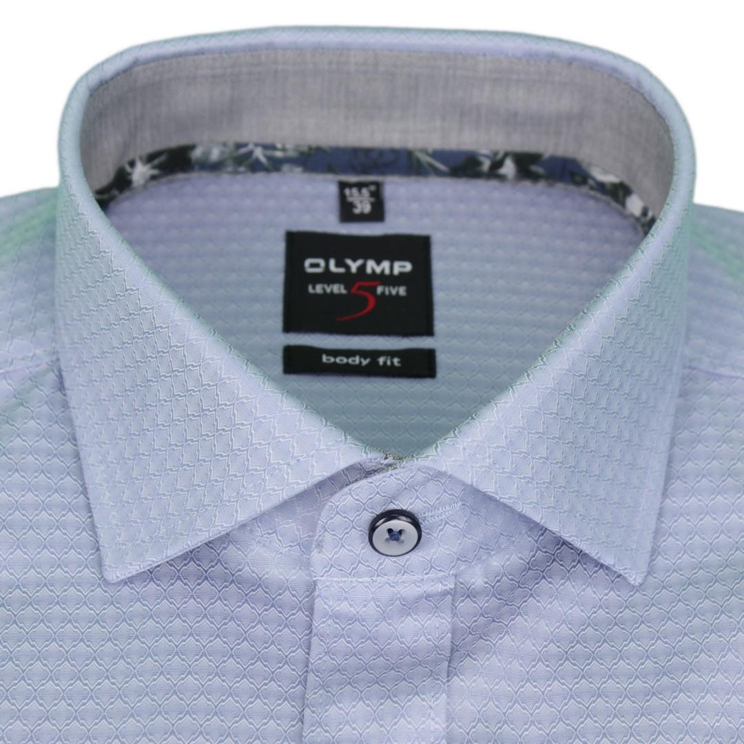 Olymp Body Fit Level 5 Hemd blau unifarben strukturiert 2004 44 13