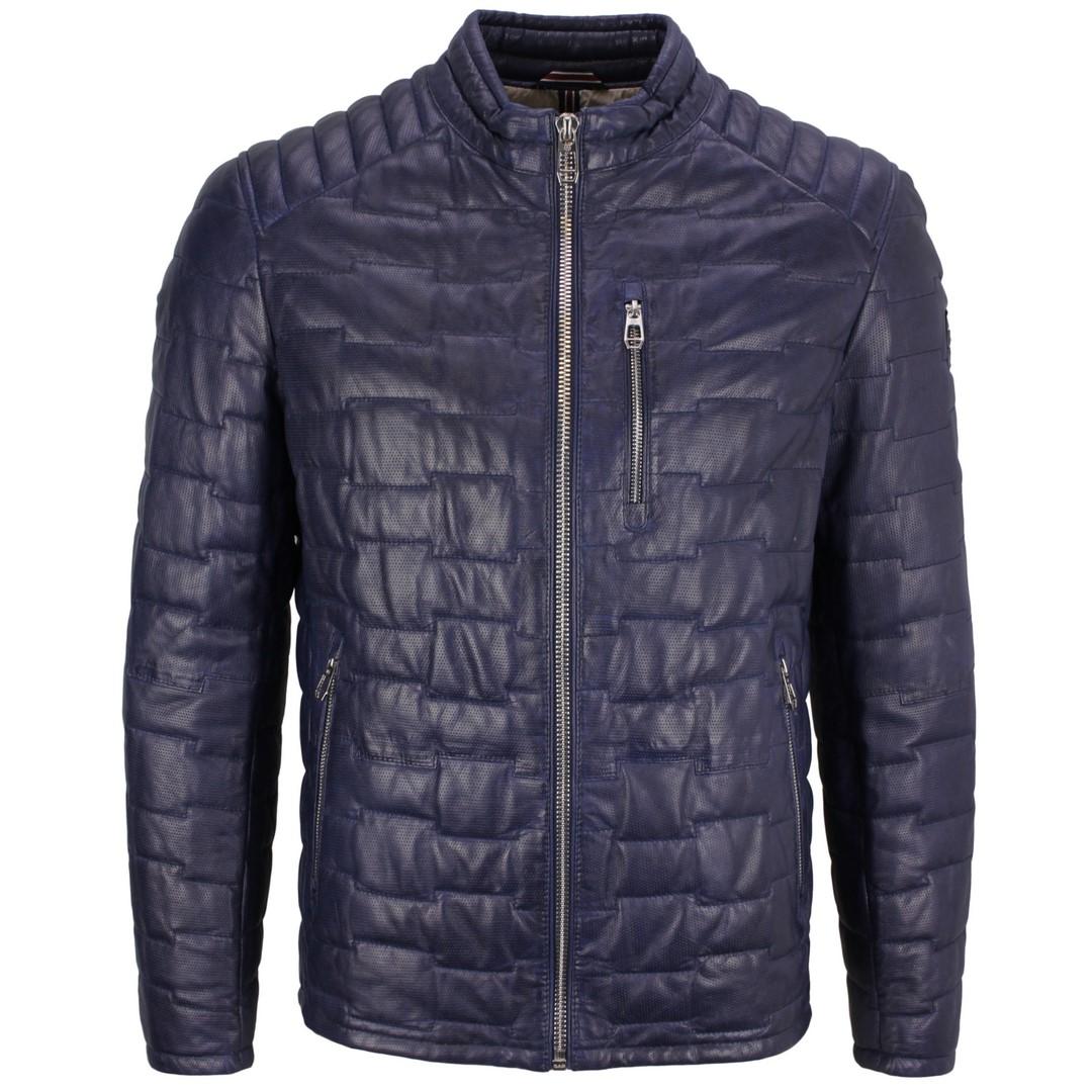 Milestone Herren Lederjacke Jacke blau gesteppt Anzio with Punch 111009 35 navy