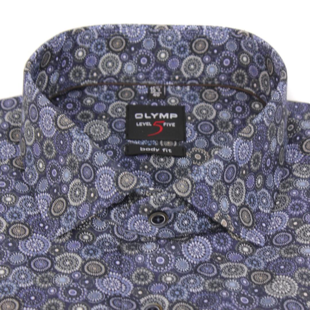 Olymp Herren Body Fit Hemd Level 5 blau Paisley Muster 2006 24 18