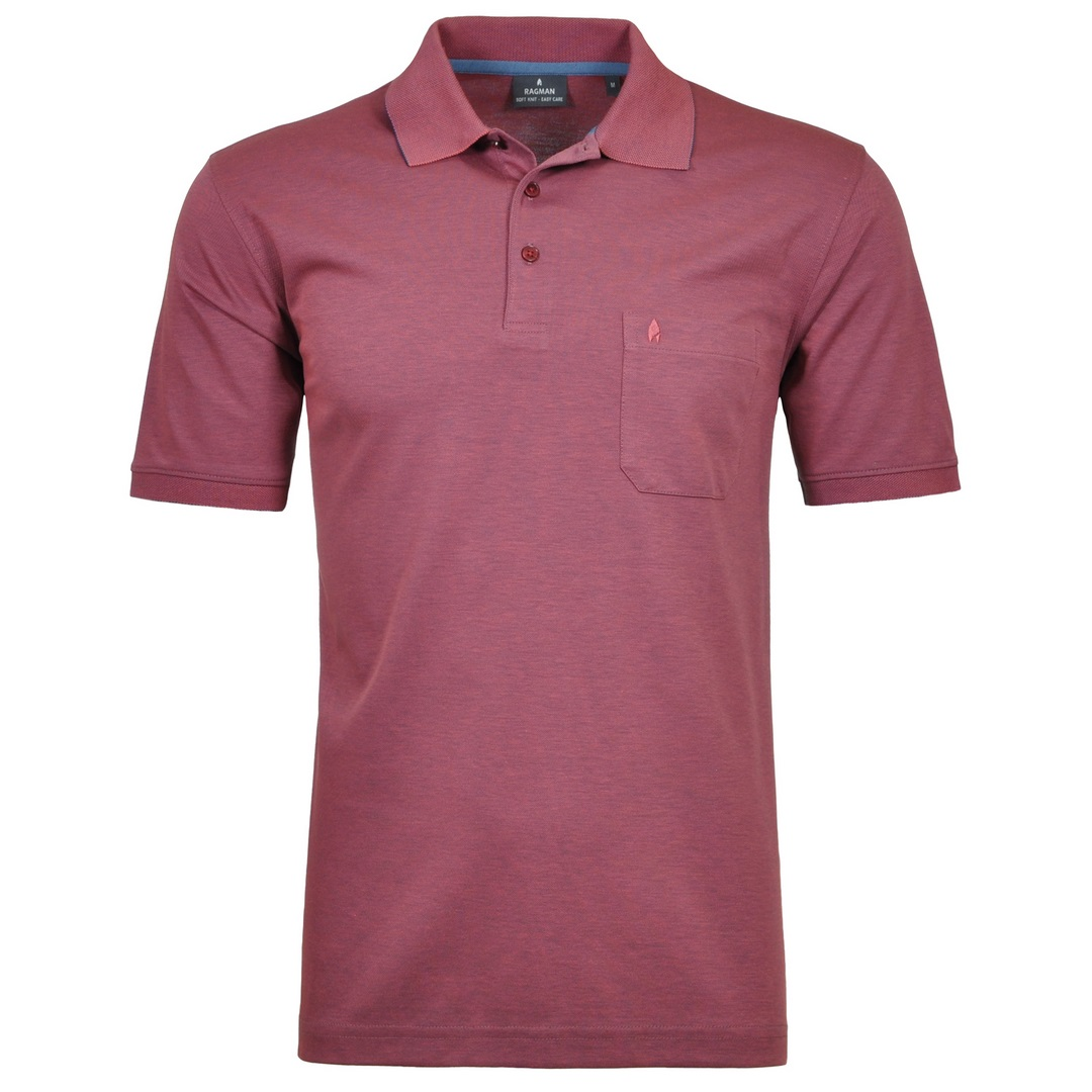 Ragman Herren Polo Shirt Poloshirt Softknit beere unifarben 540391 683