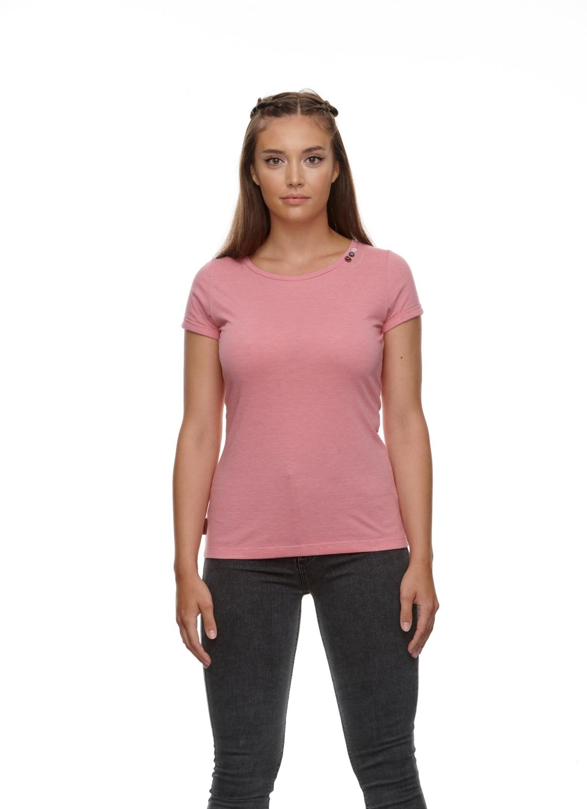 Ragwear Damen T-Shirt Florah a Organic rosa unifarben 2111 10049 4043 pink