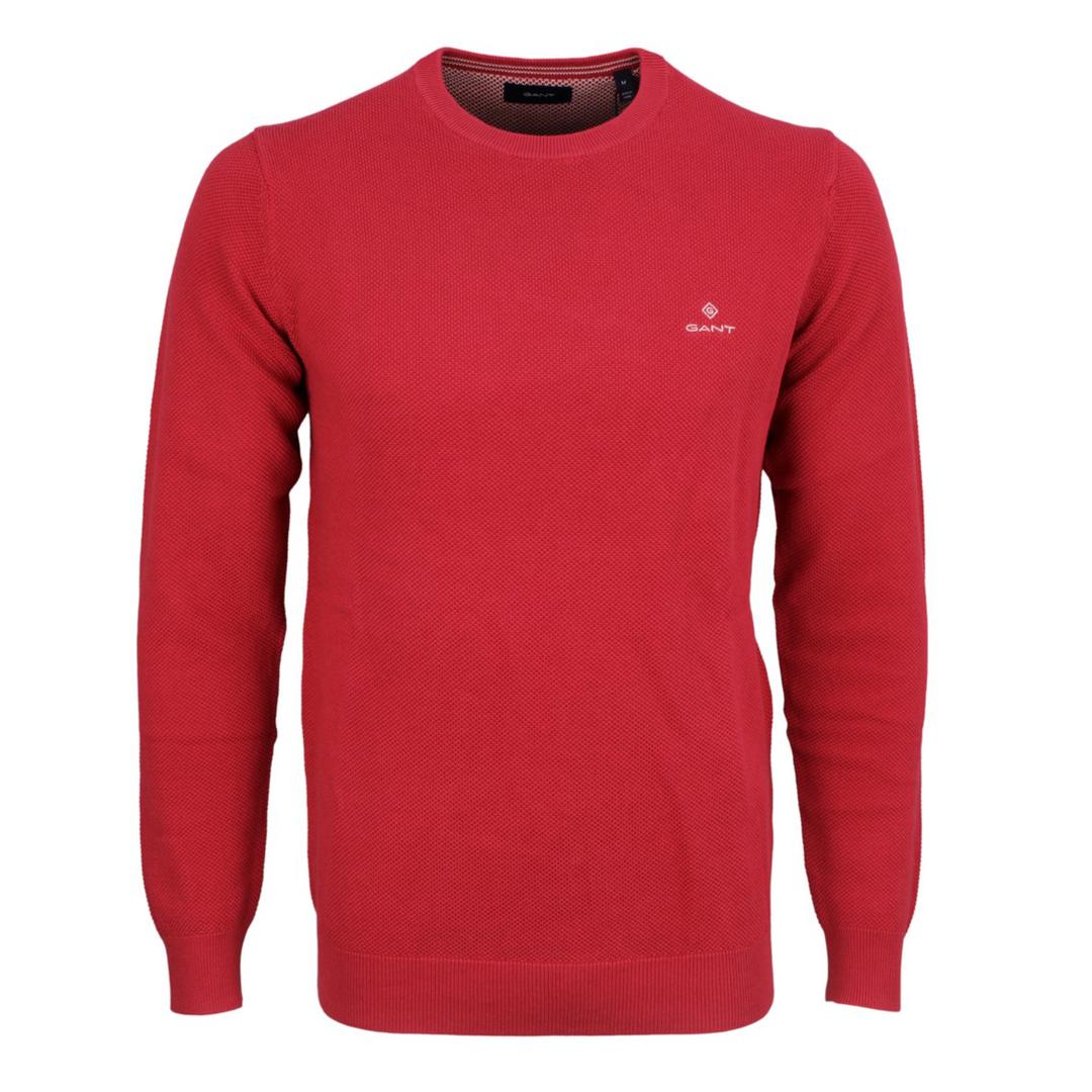 Gant Strick Pullover Cotton Pique rot unifarben 8030521 658 Cardinal Red