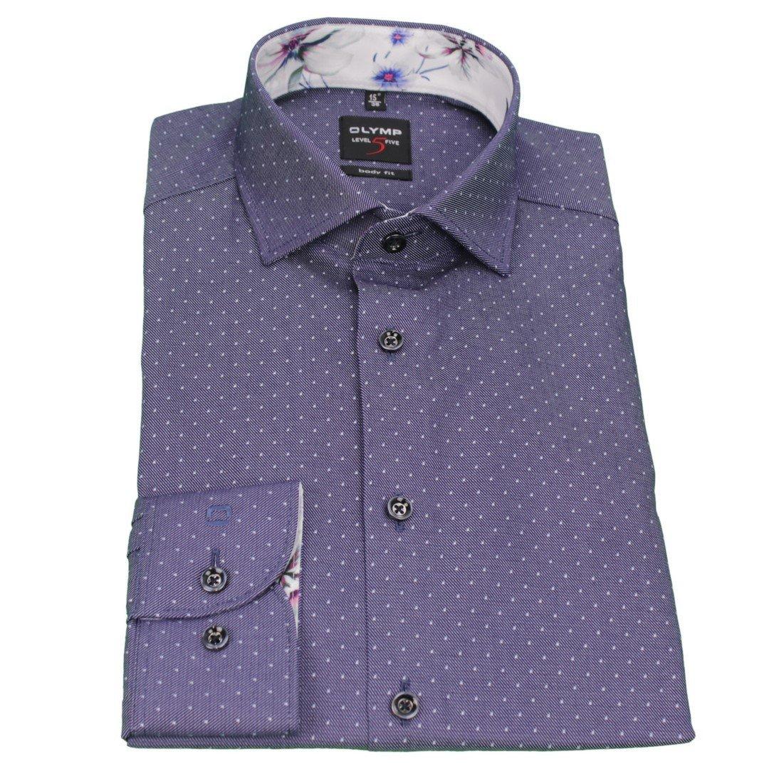 Olymp Herren Body Fit Hemd Level 5 violett blau Gepunktet 2074 14 18