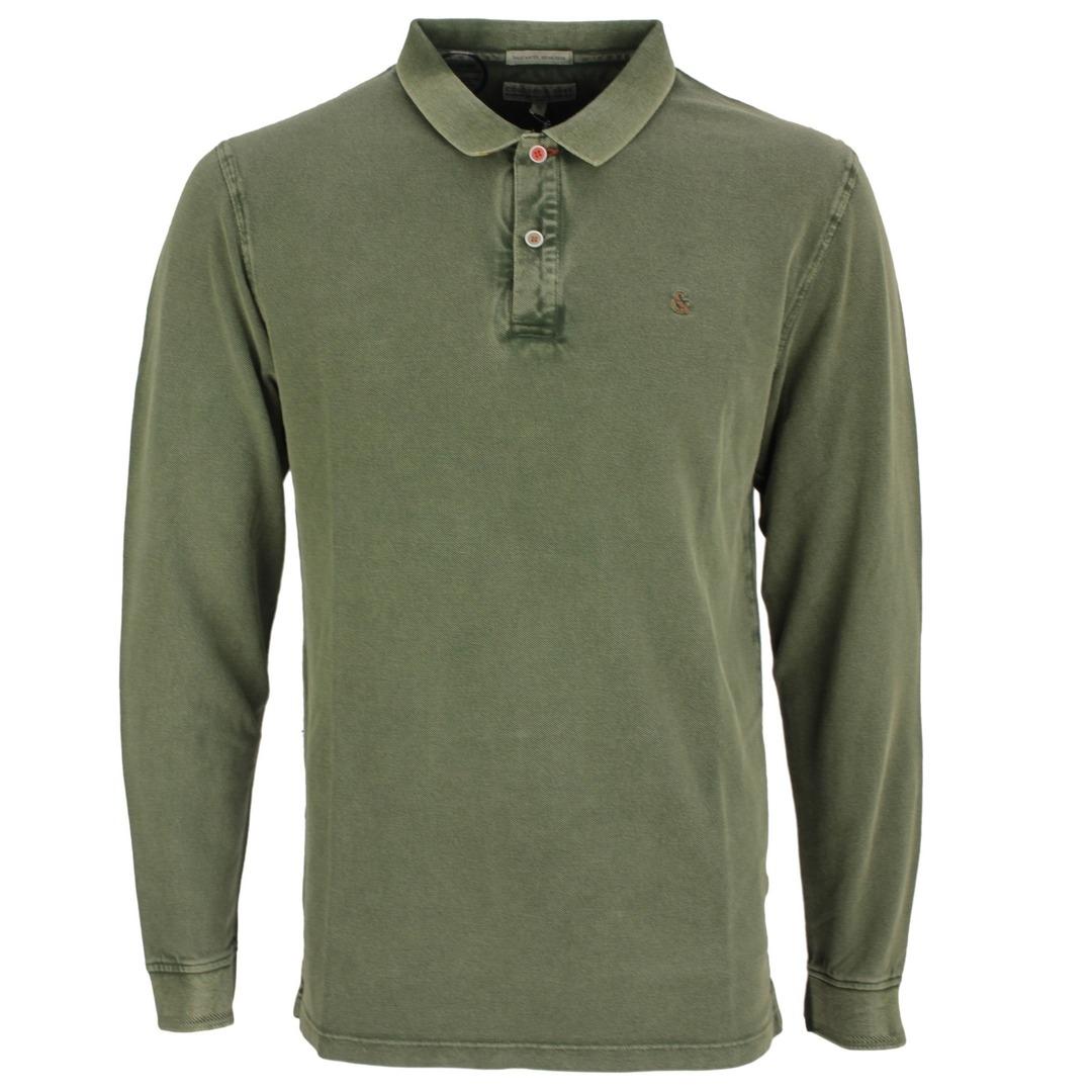 Colours & Sons Herren Polo Langarmshirt grün unifarben 9221 461 799 Olive