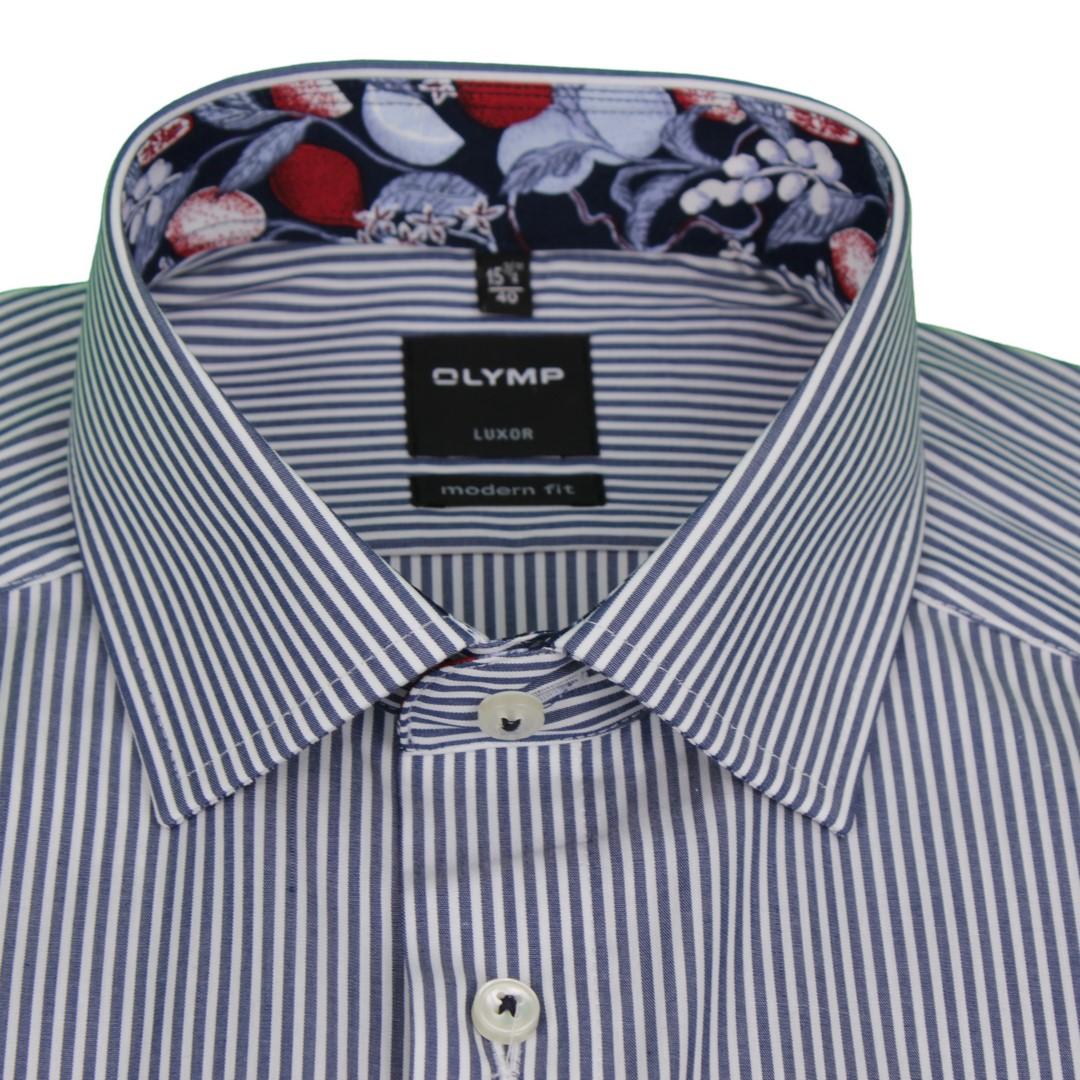 Olymp Modern Fit Kurzarm Hemd blau weiß gestreift 5802 29 18