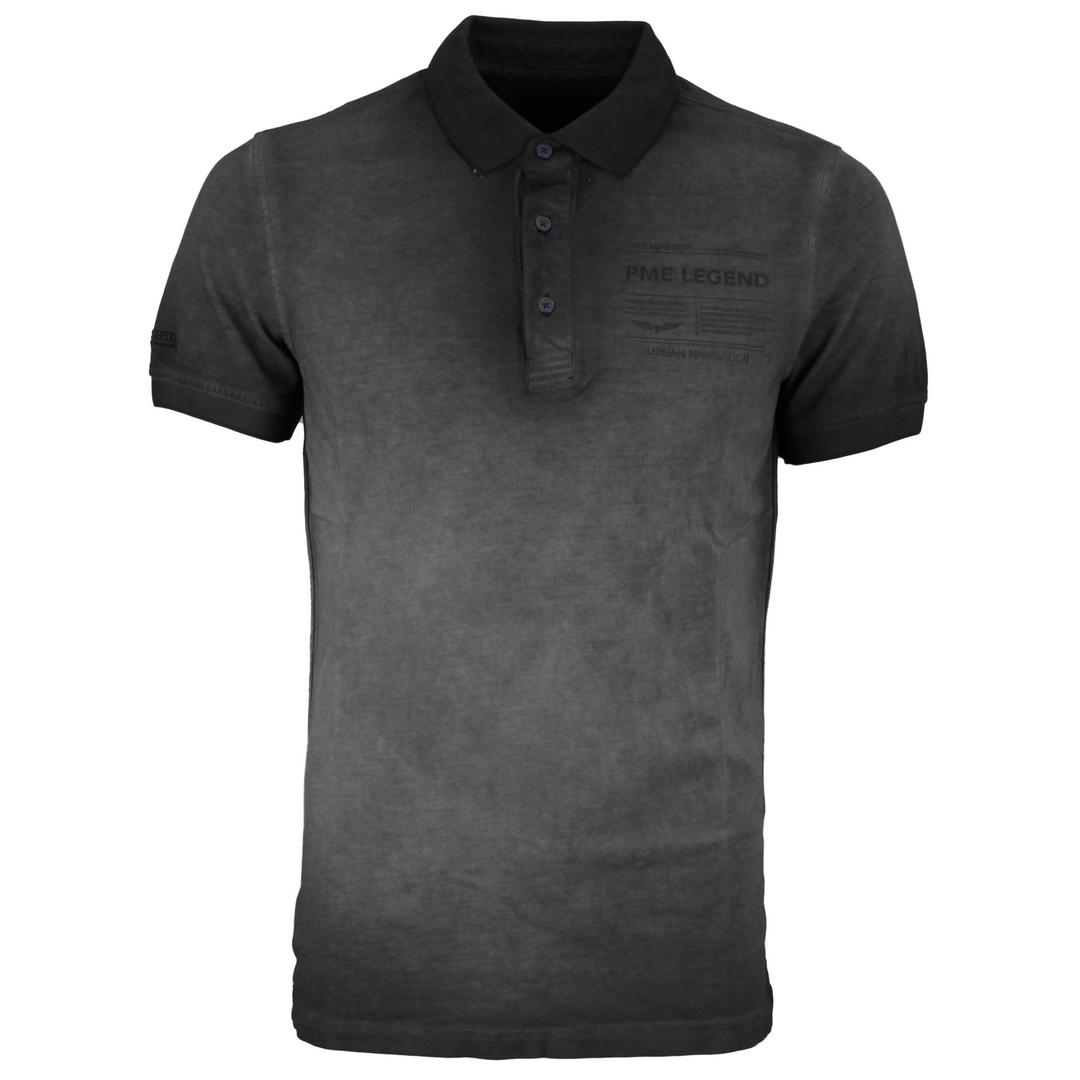PME Legend Polo Shirt Light Pique Cold Dye schwarz unifarben PPSS212861 9123