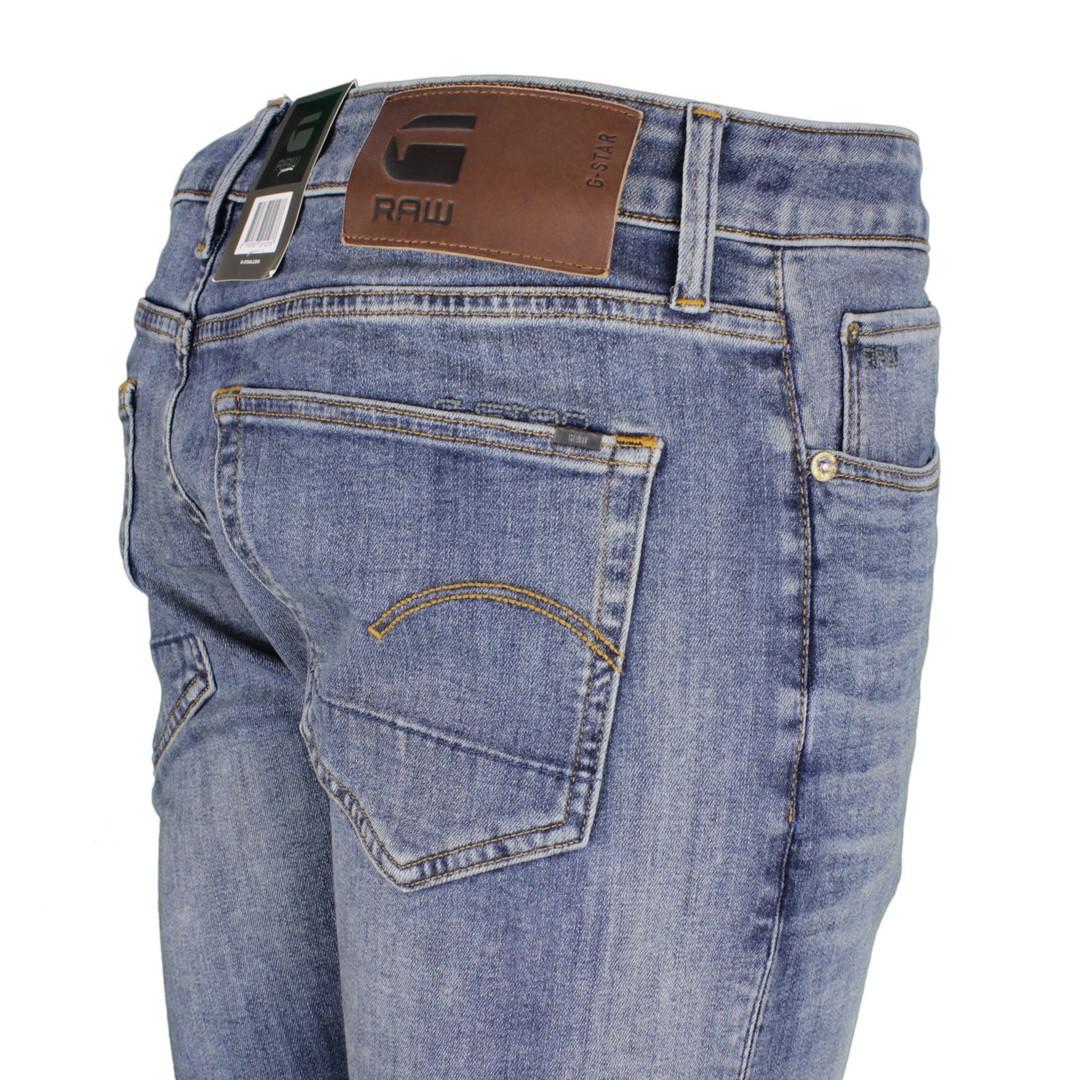 G-Star Herren Jeans Hose Jeanshose 3301 Slim Fit Stone Washed medium blau 51001 8968 2965
