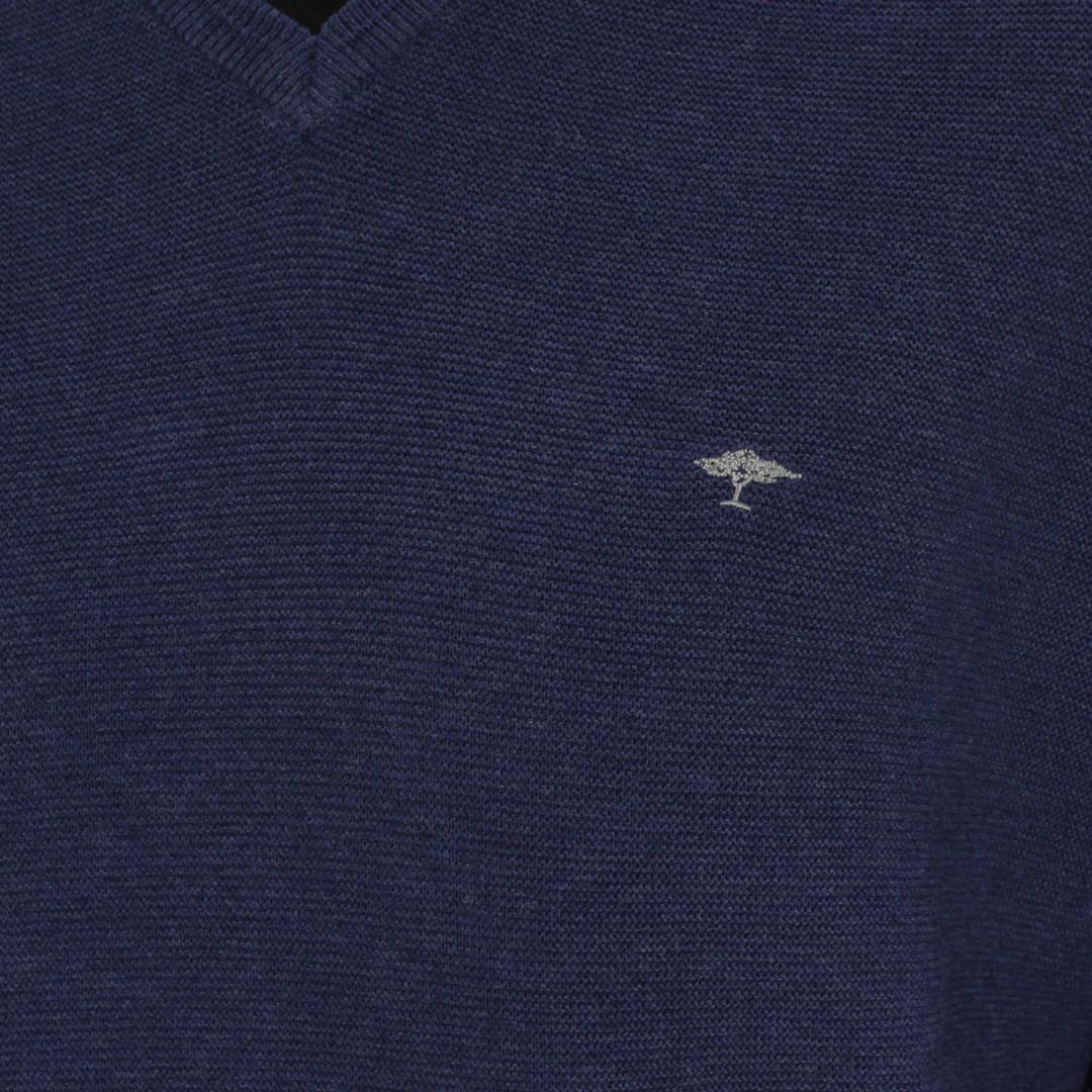 Fynch Hatton Herren Strick Pullover Strickpullover Langarm blau unifarben 1220221 680