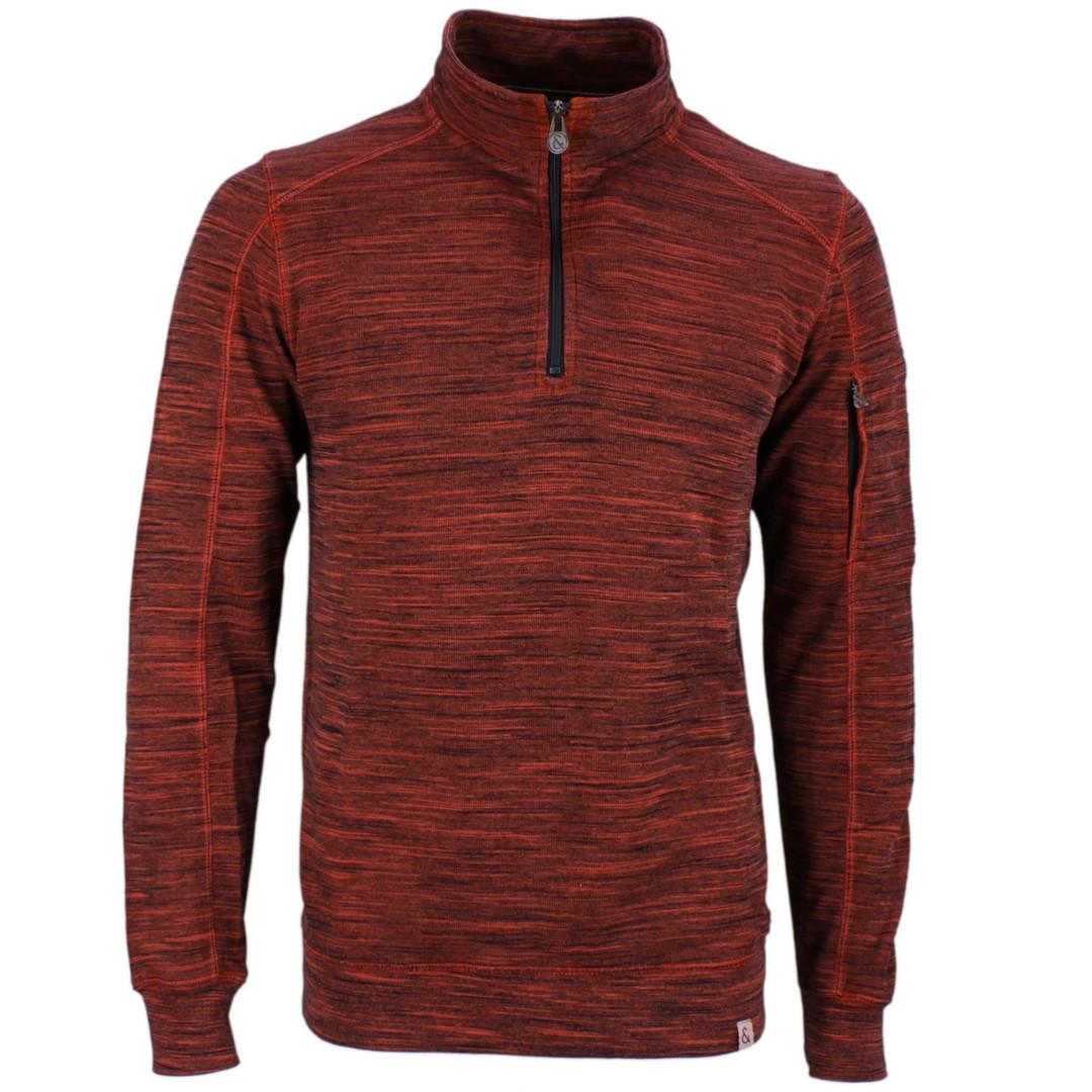 Colours & Sons Herren Sweat Shirt Troyer rot meliert 9220 433 199
