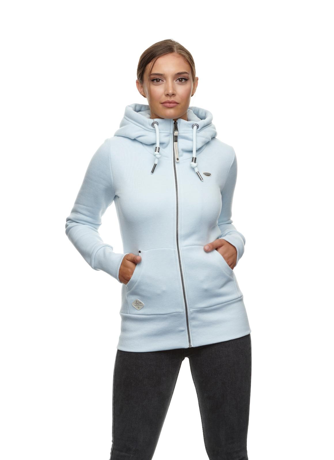 Ragwear Damen Sweat Jacke hell blau unifarben Neska Zip 2111 30036 2016 Cloud