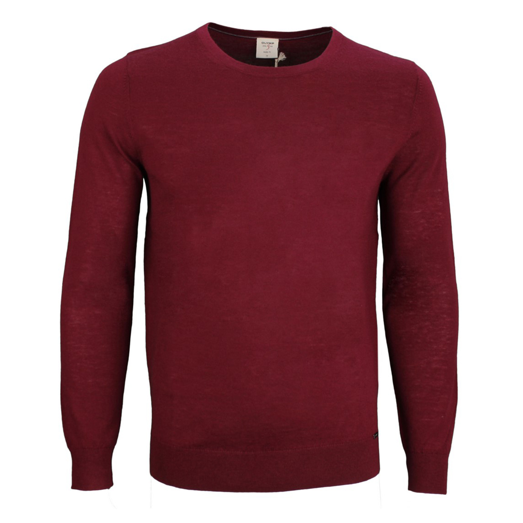 Olymp Level Five 5 Body Fit Strick Pullover rot unifarben 0151 11 39