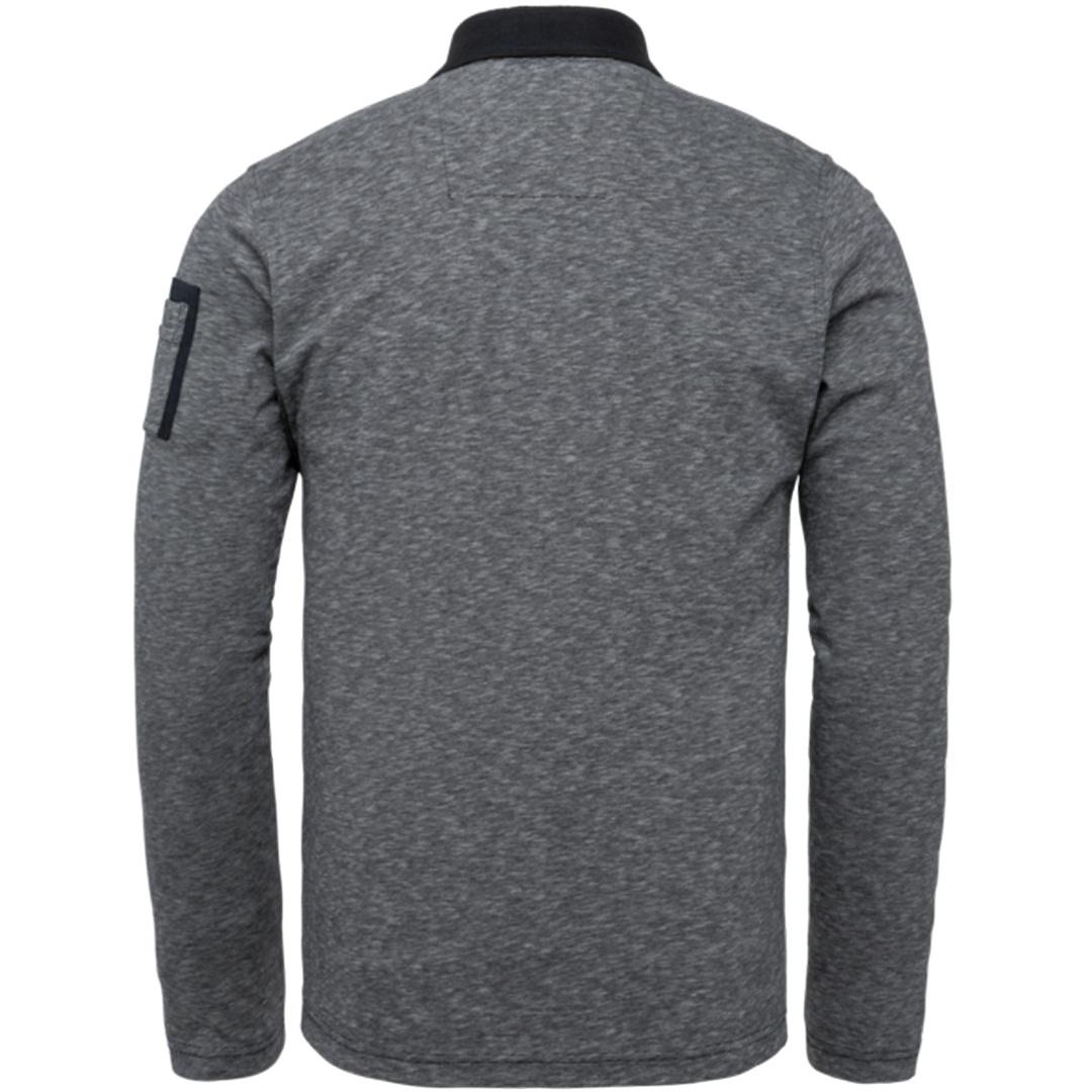 PME Legend Herren Poloshirt Langarm Fine Strip Jerse grau PPS215830 5288 Night Sky