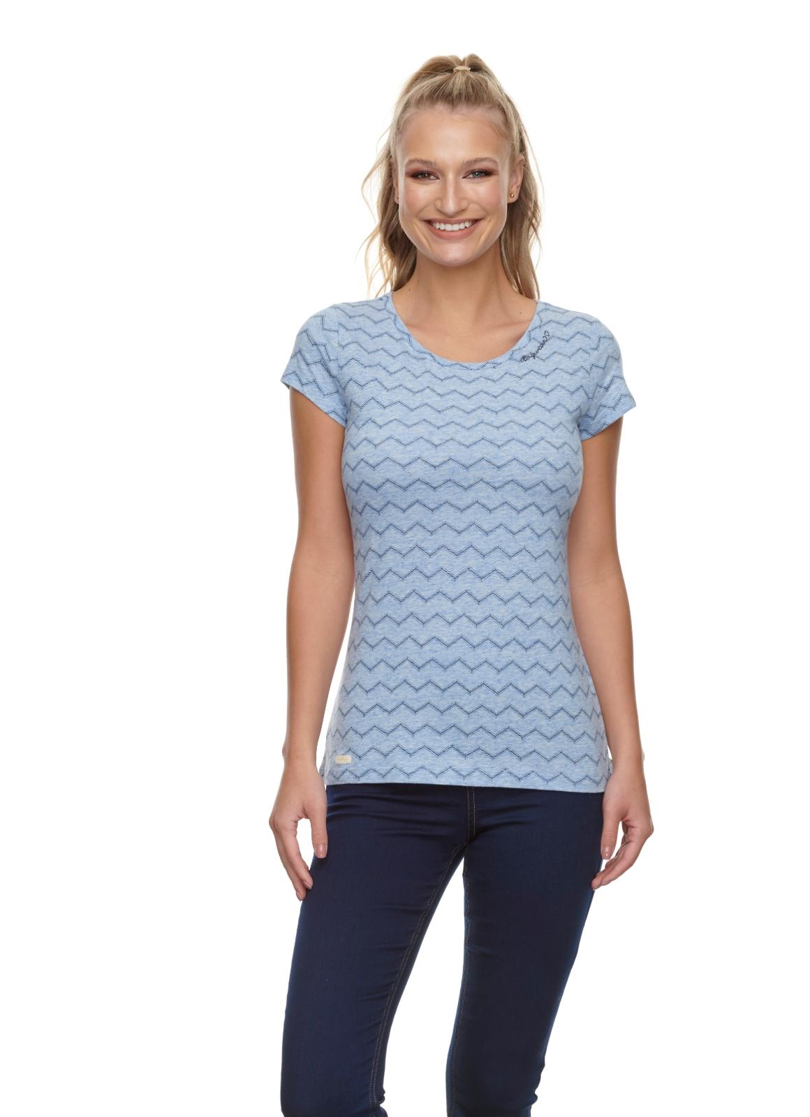 Ragwear Damen T-Shirt Mint Chevron blau weiß gemustert 2111 10014 2040 blue