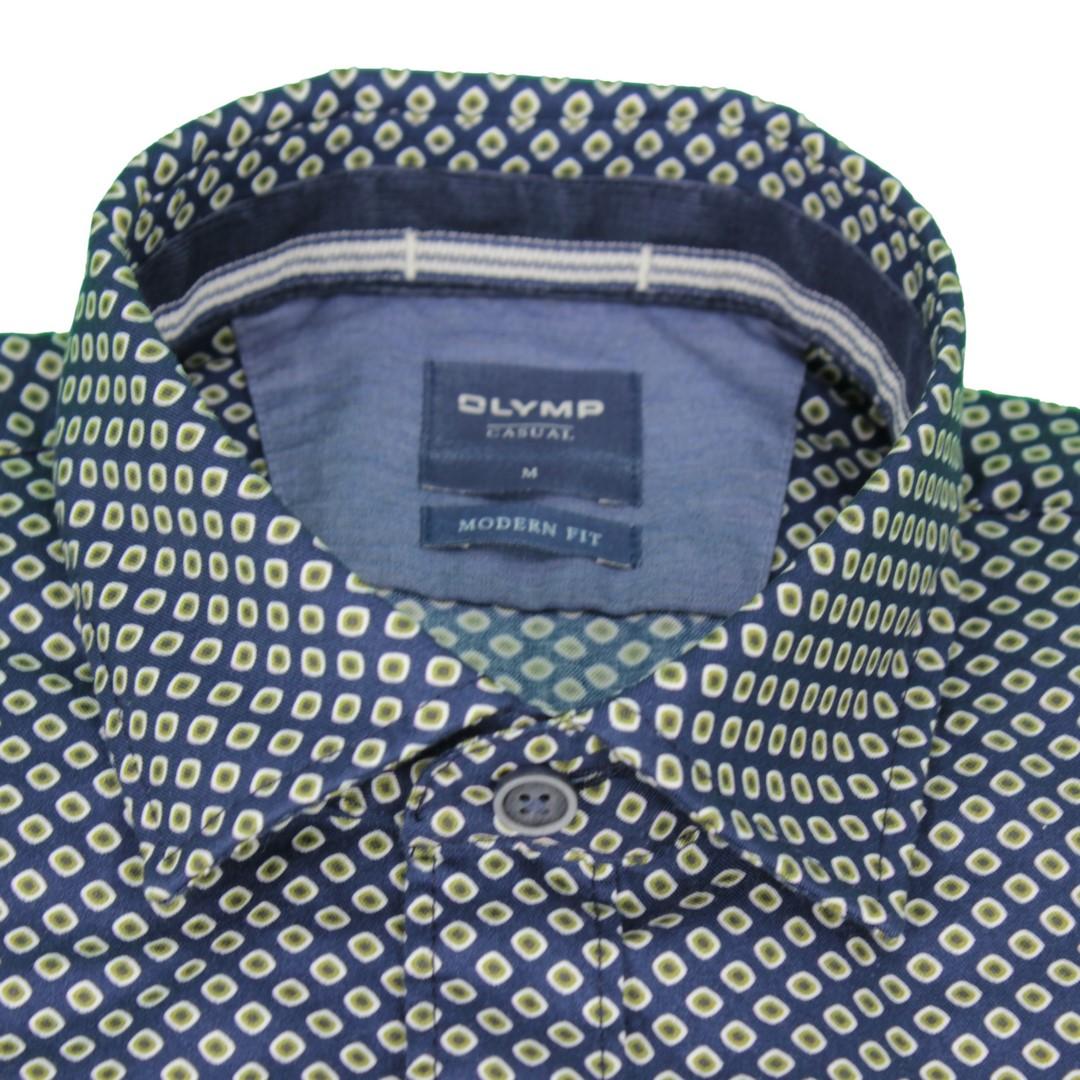 Olymp Herren Casual Freizeit Hemd blau gemustert 4078 44 47