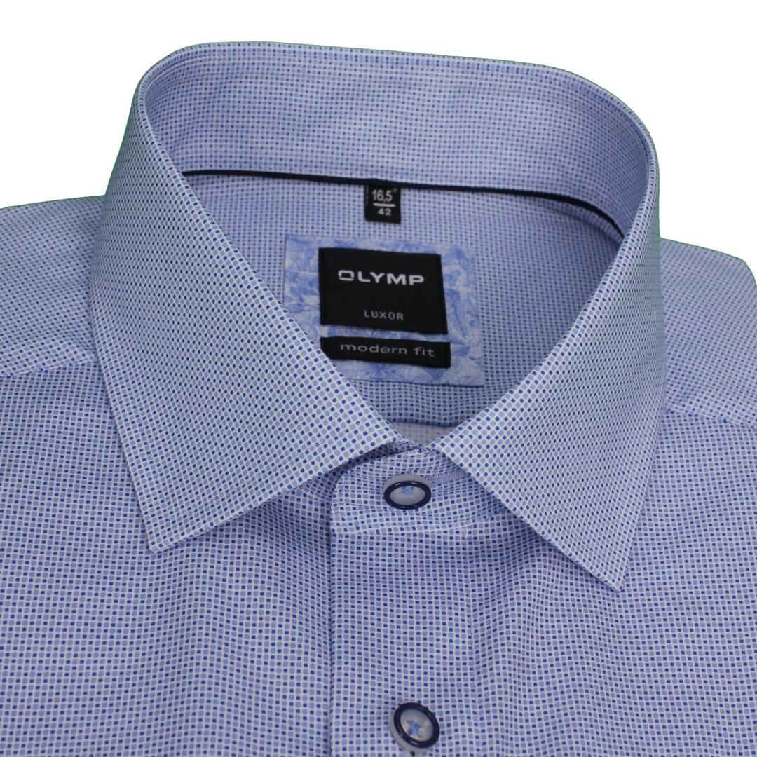Olymp Modern Fit Kurzarm Hemd blau Minimal Muster 120972 11