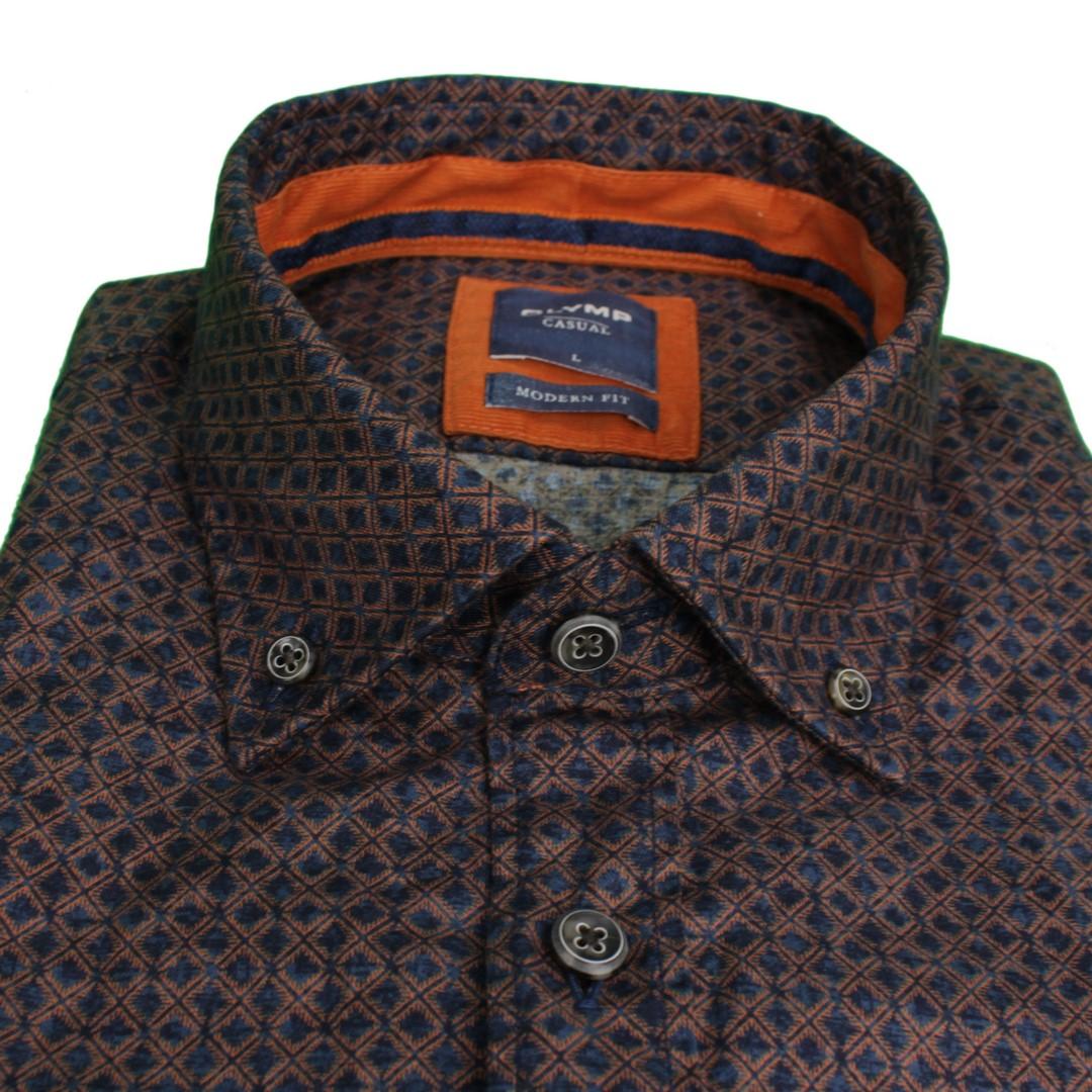 Olymp Herren Casual Freizeit Hemd blau orange Rauten gemustert 405264 82