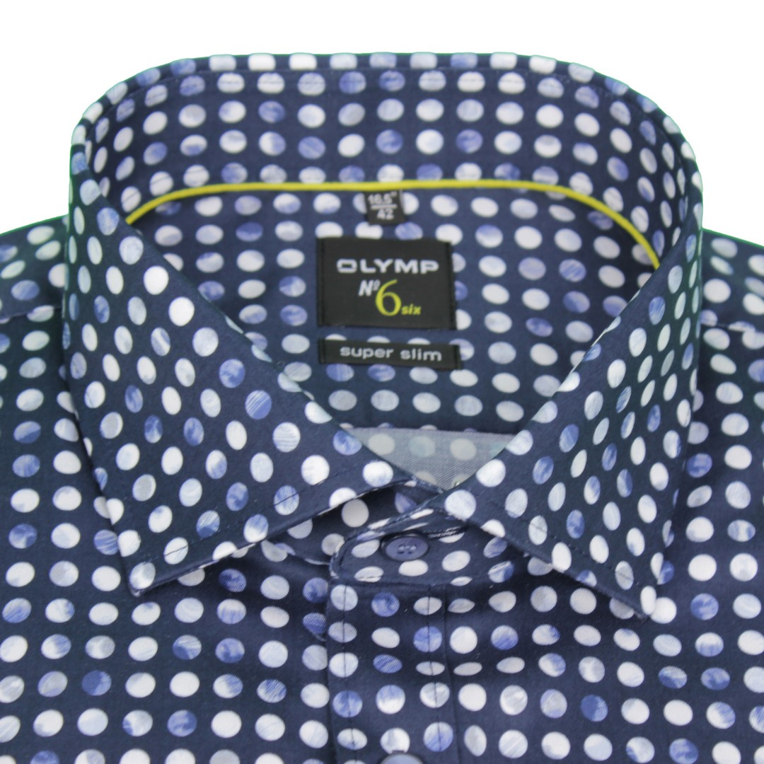 Olymp Herren Super Slim Hemd No. 6 blau gemustert 2518 54 18