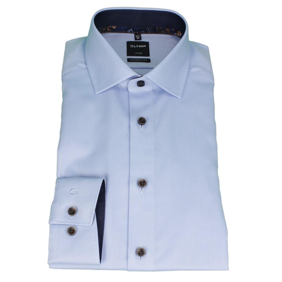 Olymp Modern Fit Hemd blau unifarben strukturiert 1204 44 11