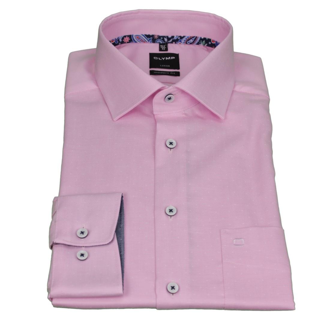 Olymp Herren Luxor Modern Fit Hemd rosa unifarben 5882 09 31