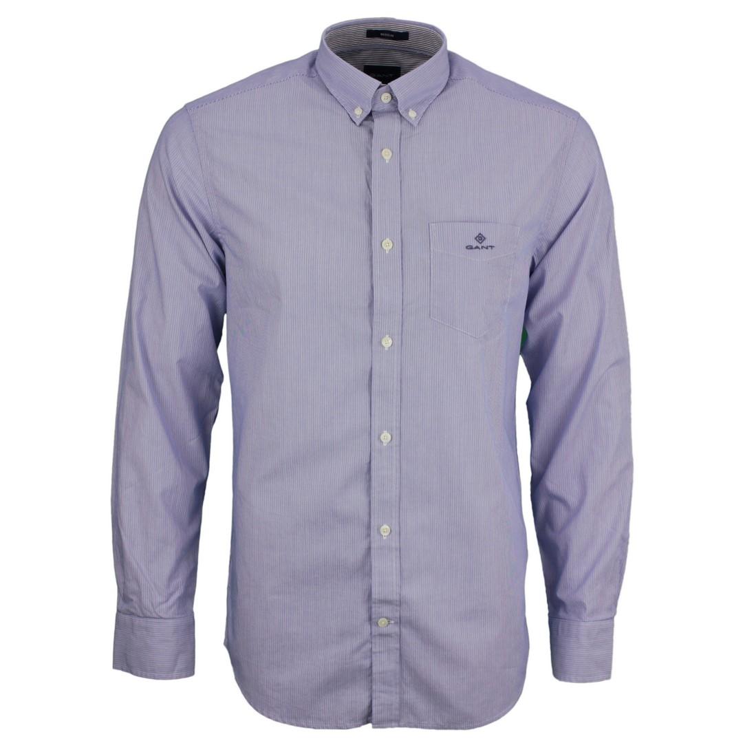 Gant Herren Freizeit Hemd Micro Stripe blau gestreift 3064700 422 Nautical blue