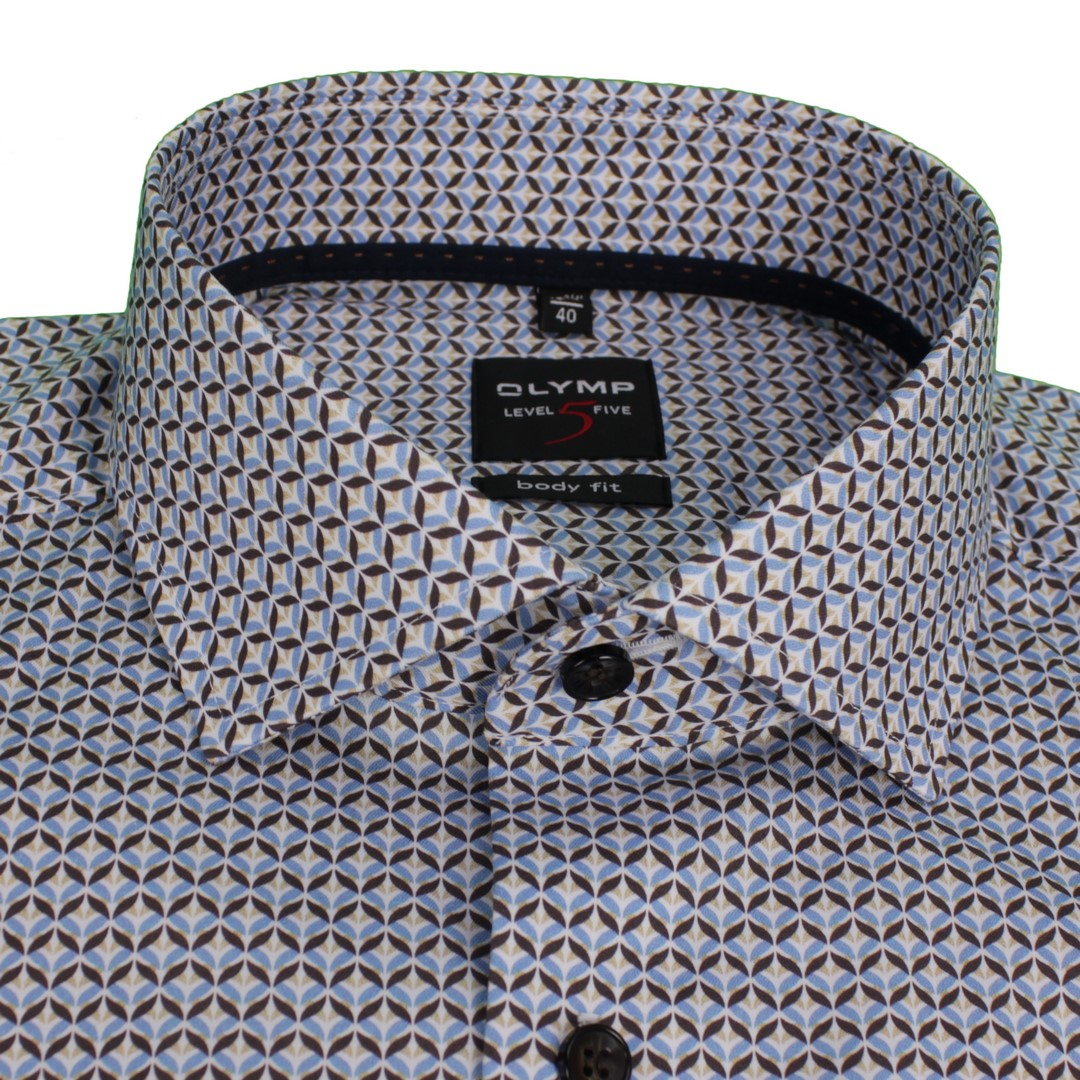 Olymp Herren Body Fit Level 5 Hemd mehrfarbig gemustert 203464 27