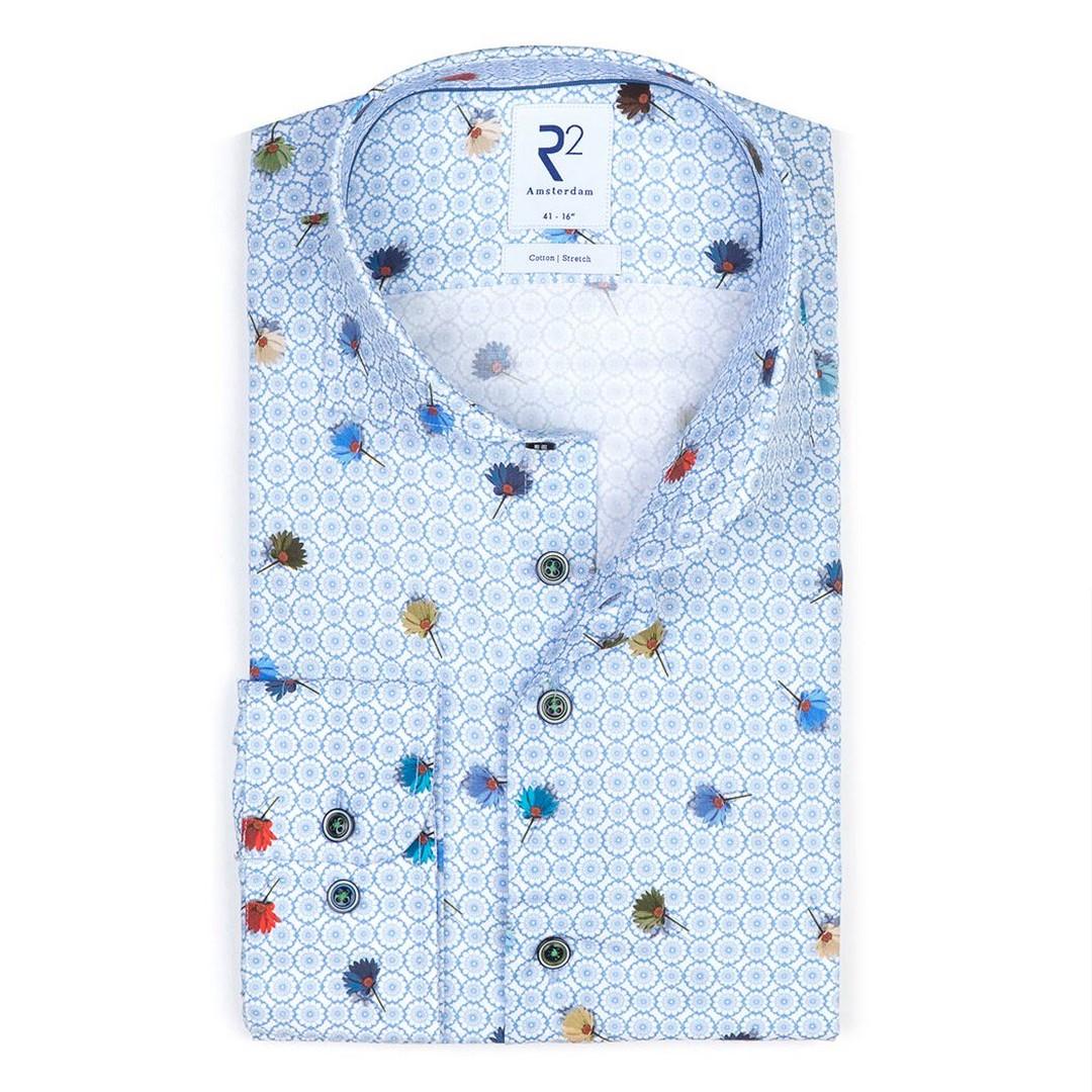 R2 Amsterdam Herren Hemd Widespread blau Blümchen 112.WSP.075 018 Gänselümchen