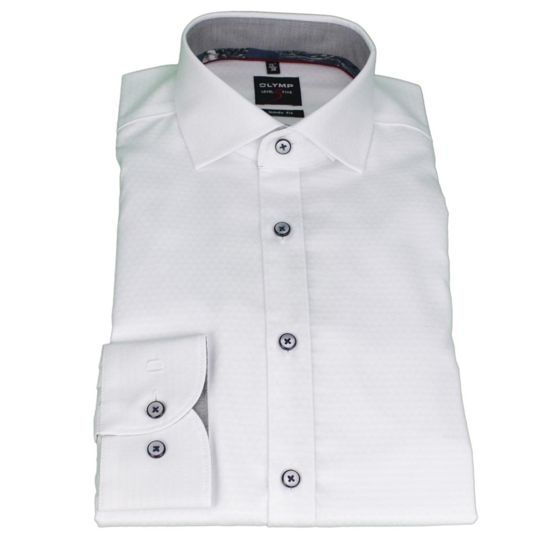 Olymp Body Fit Level 5 Hemd weiß unifarben strukturiert 2004 44 00