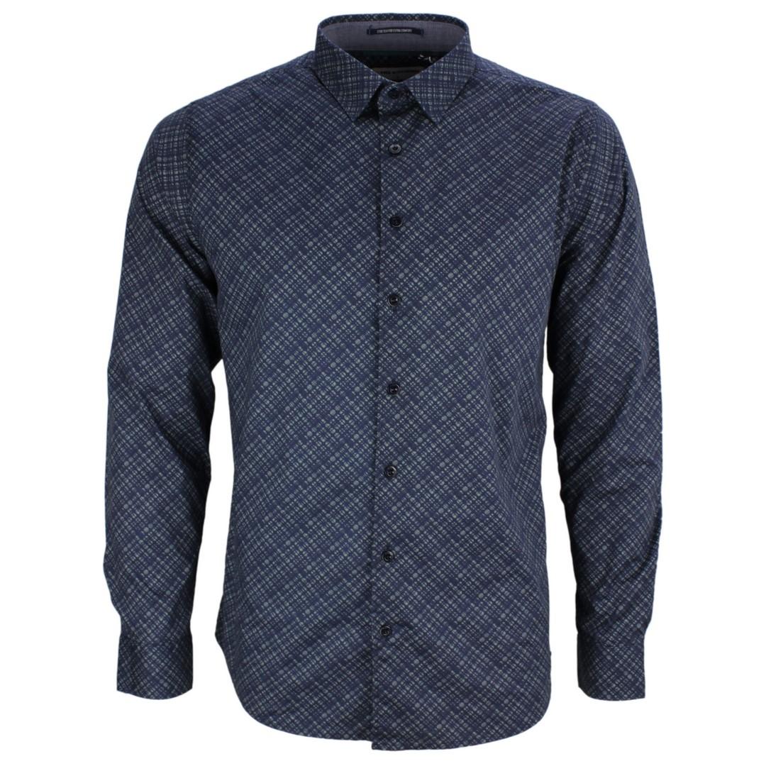 No Excess Herren Freizeit Hemd blau grau gemustert 97430911 123 steel