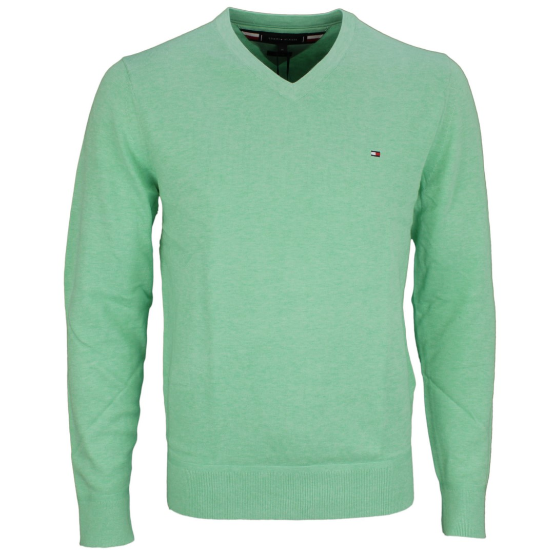 Tommy Hilfiger Herren Strick Pullover grün unifarben MW0MW11653 MQ7