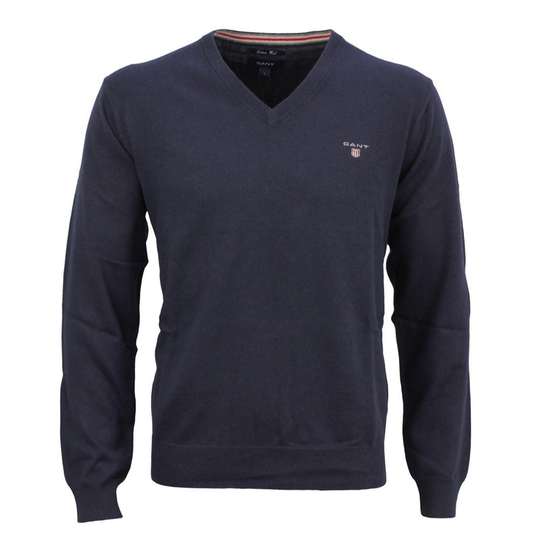 Gant Herren Strick Pullover Strickpullover Cotton Wool marine blau unifarben 83102 405