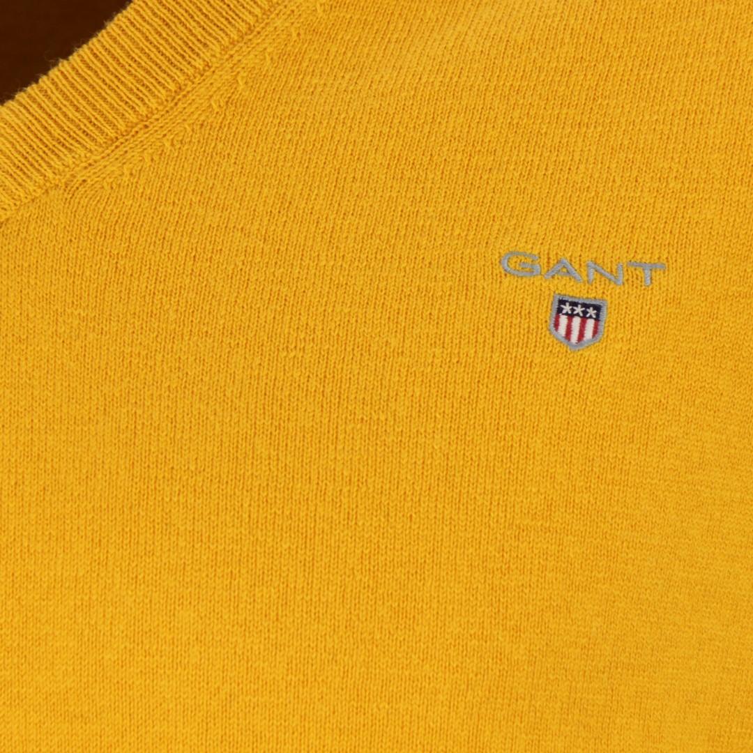 Gant Herren Strick Pullover Cotton Wool gelb unifarben 83102 710 IVY Gold