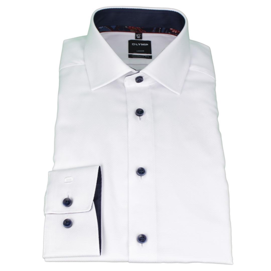 Olymp Modern Fit Hemd weiß unifarben strukturiert 1204 44 00
