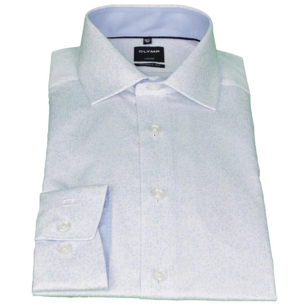 Olymp Herren Luxor Modern Fit Hemd blau Minimal Muster 1234 34 11