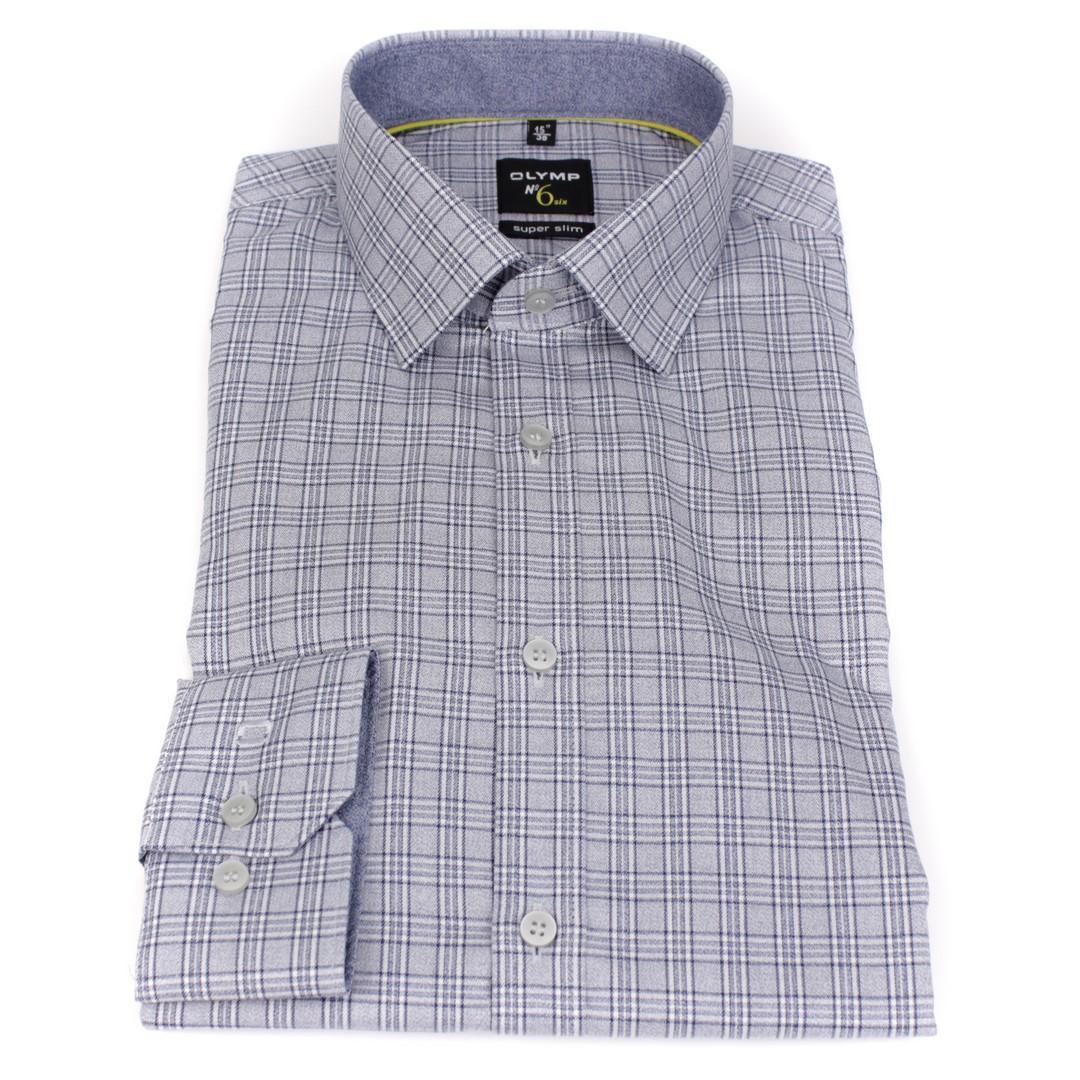 Olymp Herren Super Slim Hemd No. 6 blau weiß Kariert 2514 24 18