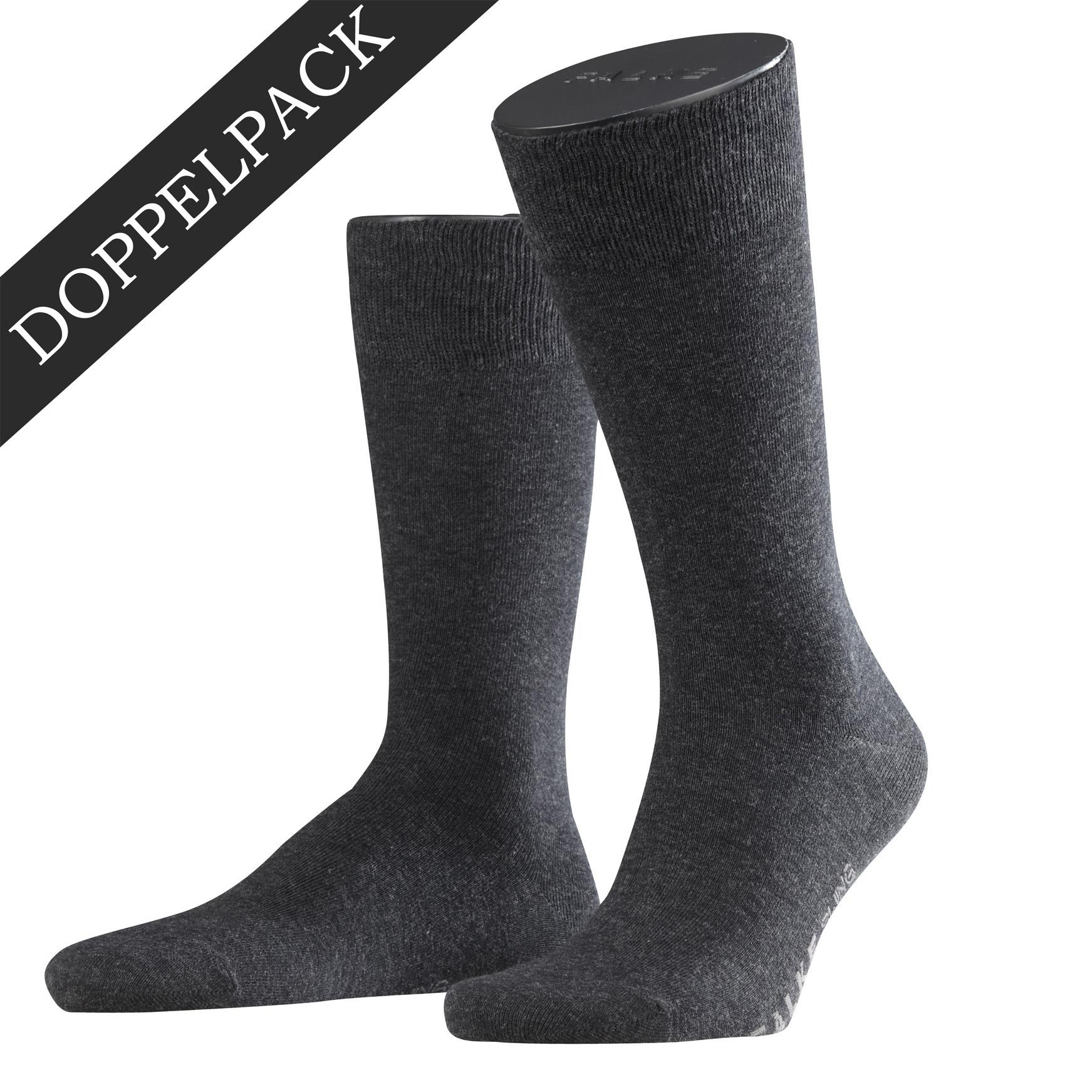 Falke Doppelpack Socke Swing anthrazit 14633 - 3080 Basic Baumwolle