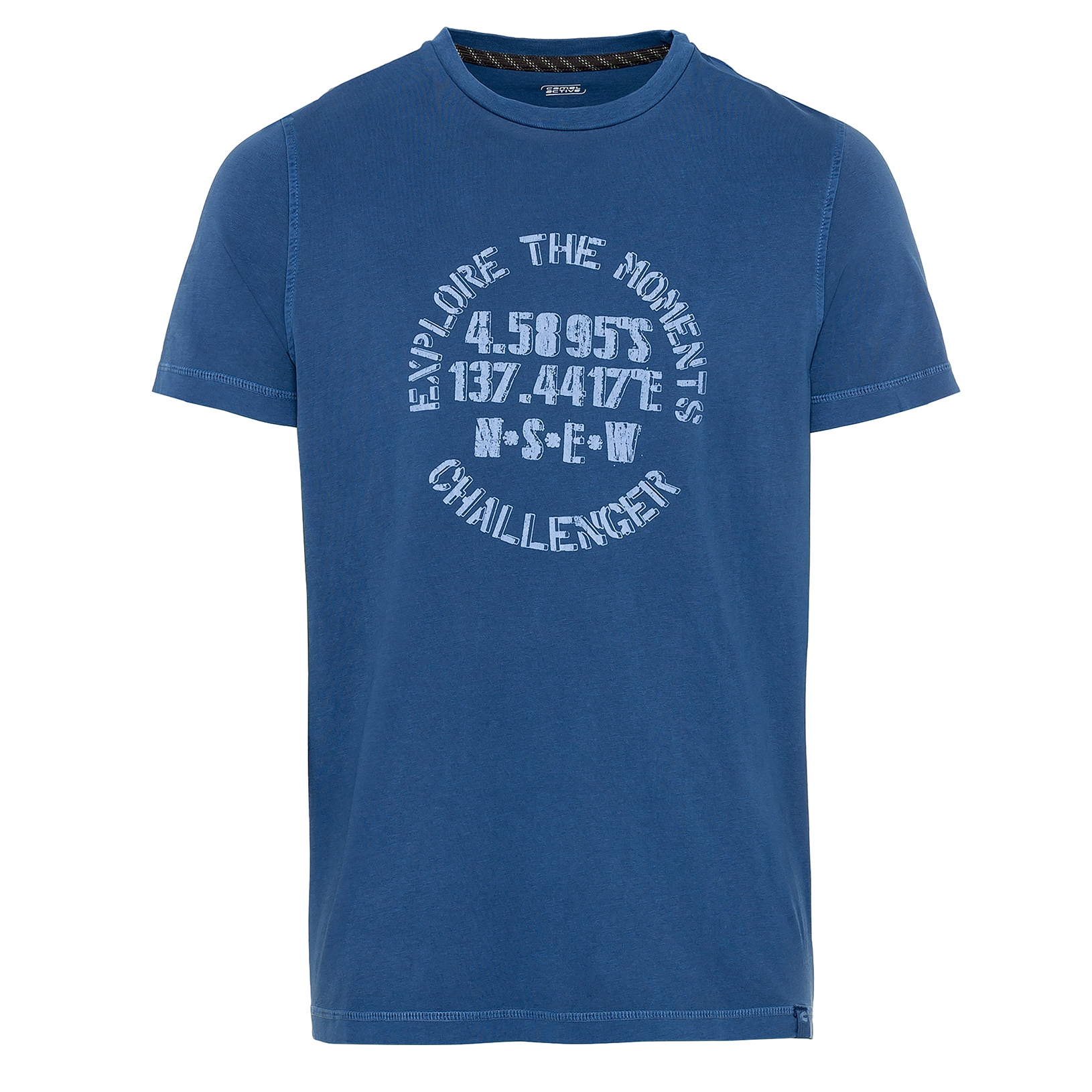 Camel active Herren T-Shirt Shirt kurzarm blau Print 5T46409646 46