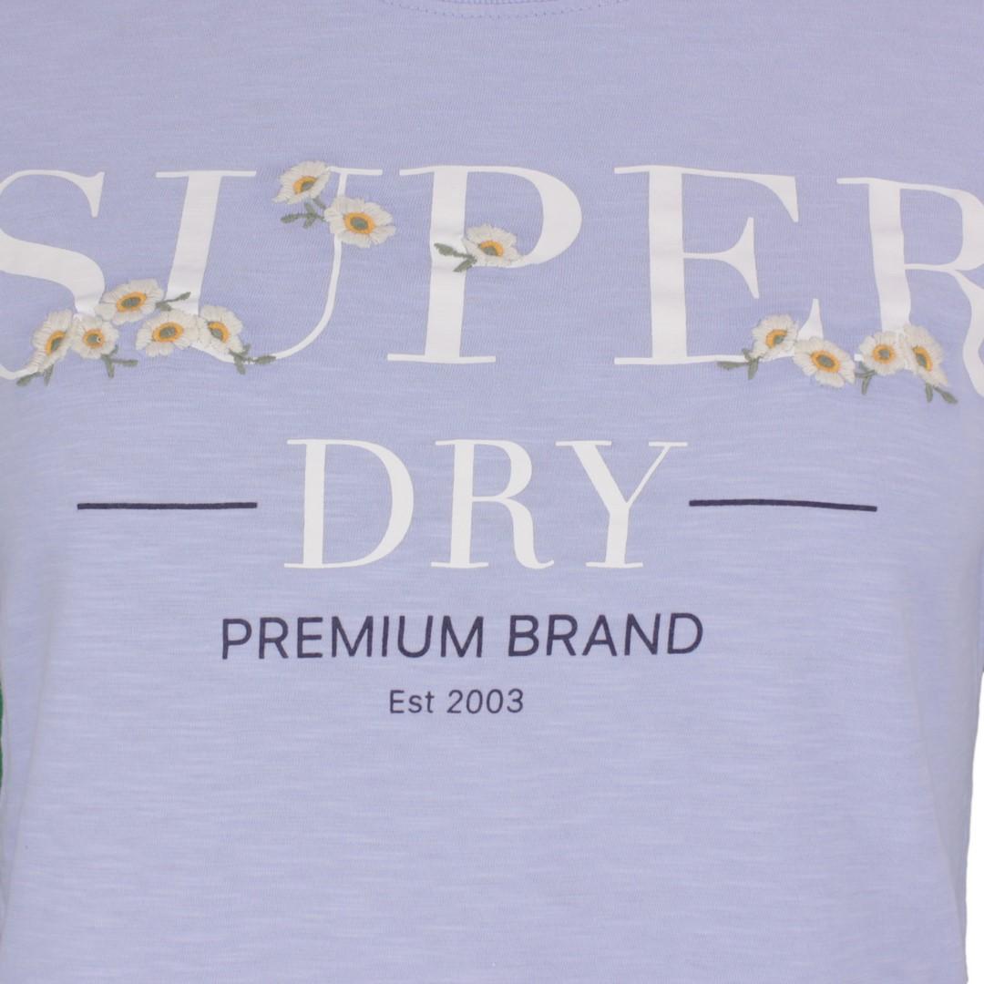 Superdry Damen T-Shirt Serif Floral Entry Tee blau W1010062A non blue