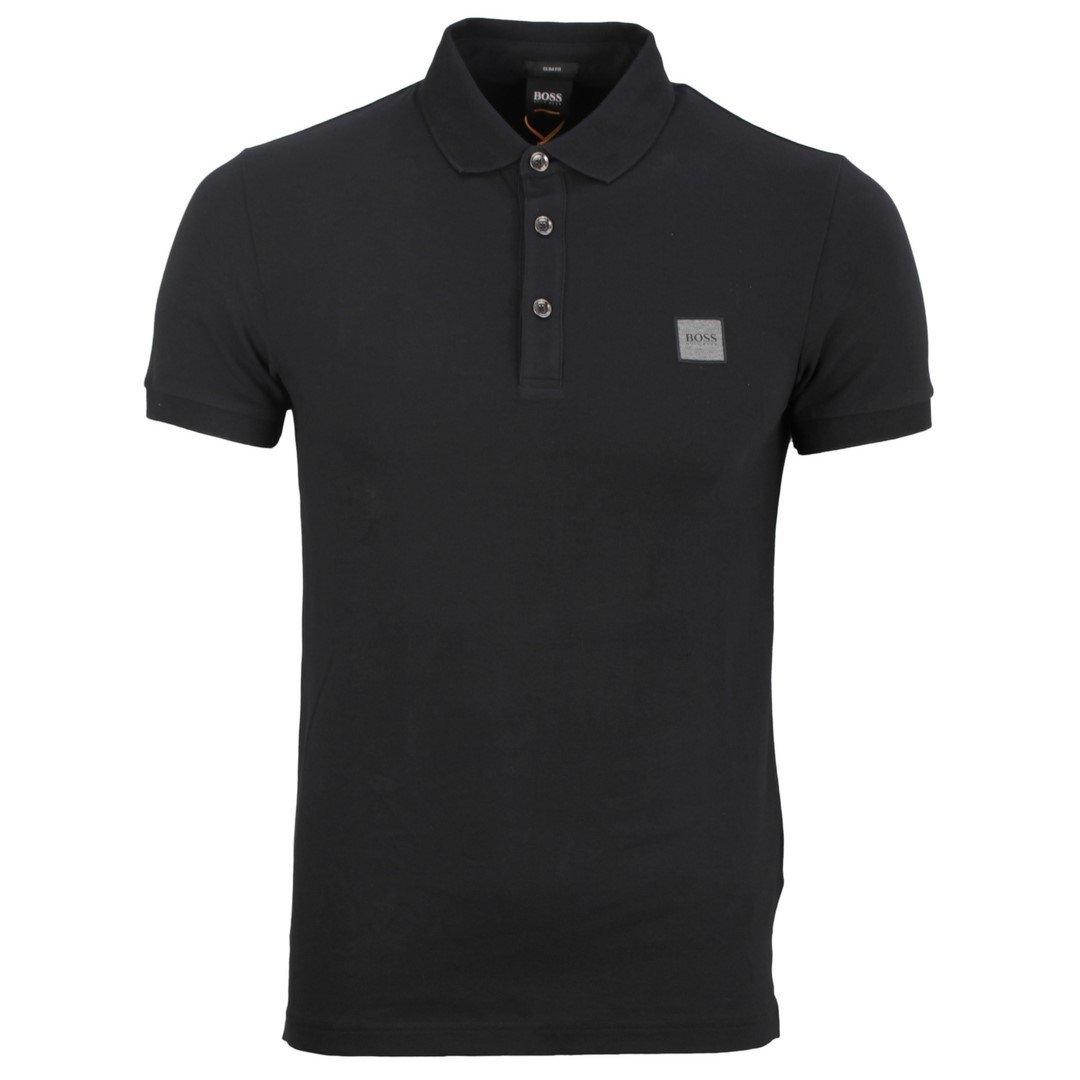 Hugo Boss Herren Polo Shirt Poloshirt Passenger schwarz unifarben 50462781 001 Black