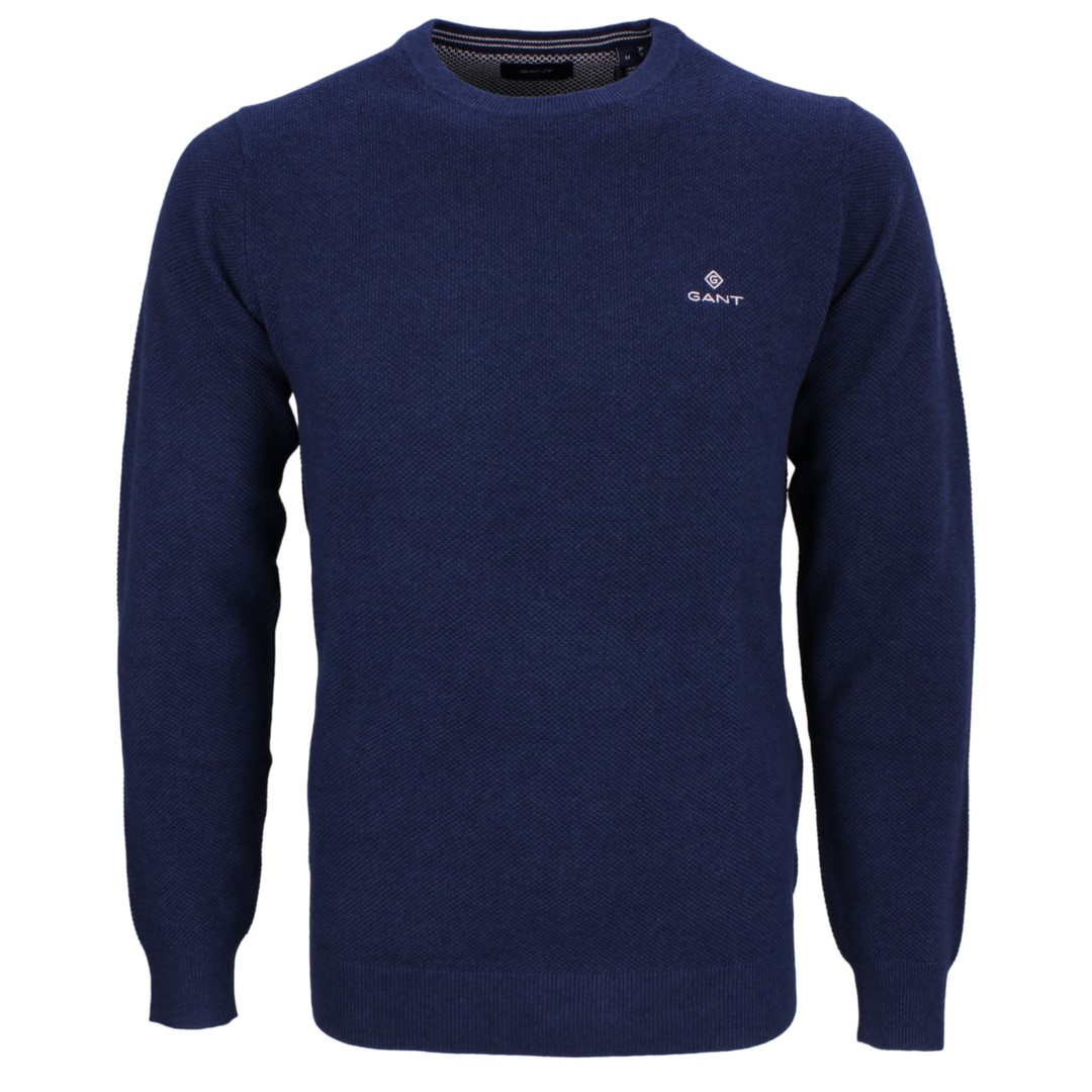 Gant Strick Pullover Strickpullover Cotton Pique blau 8030521 487 marine melange