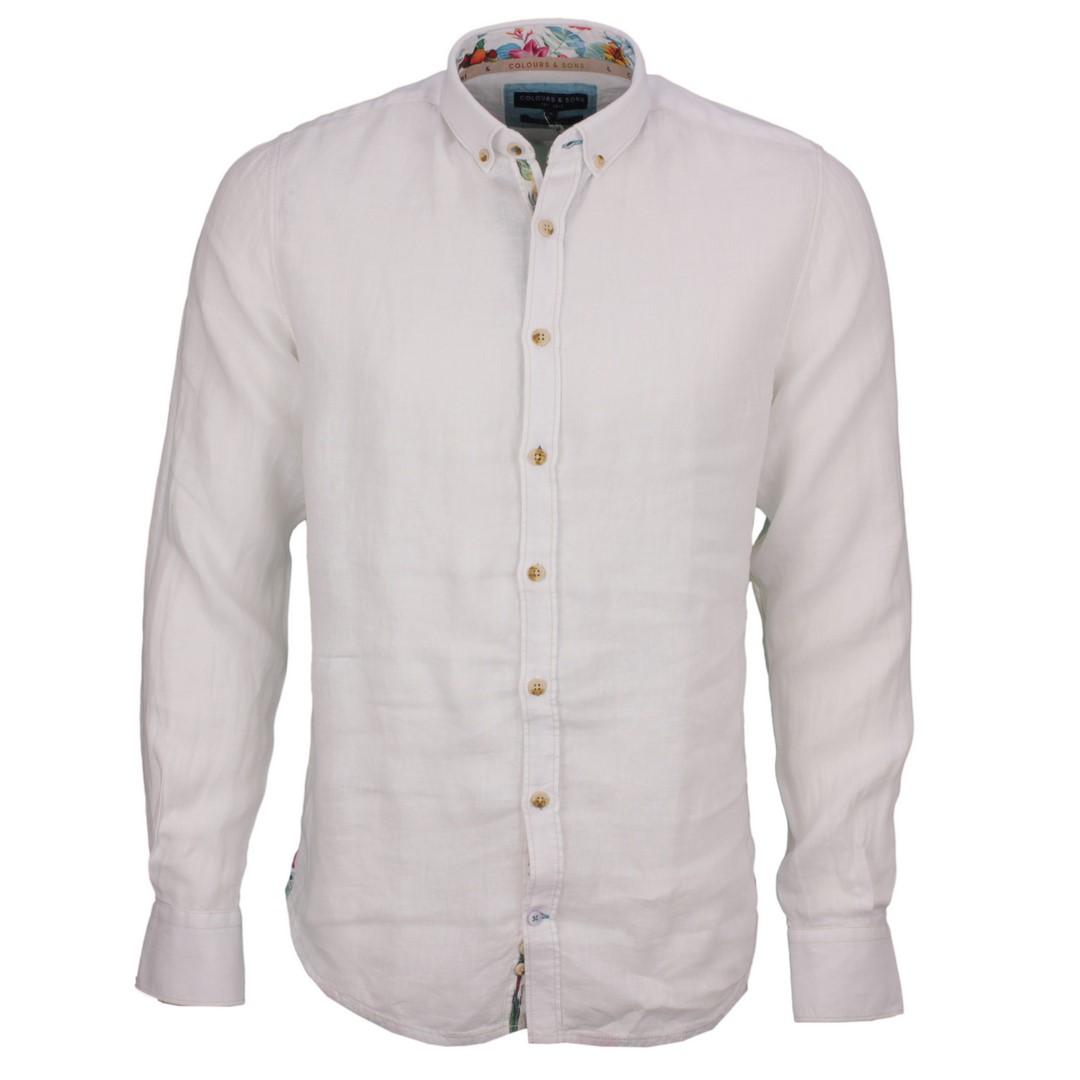 Colours & Sons Herren Freizeit Leinen Hemd weiß unifarben 9121 210 211 white