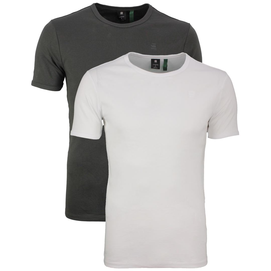 G-Star Raw Round Neck Doppelpack Basic T-Shirt weiß anthrazit D07205 124 8991