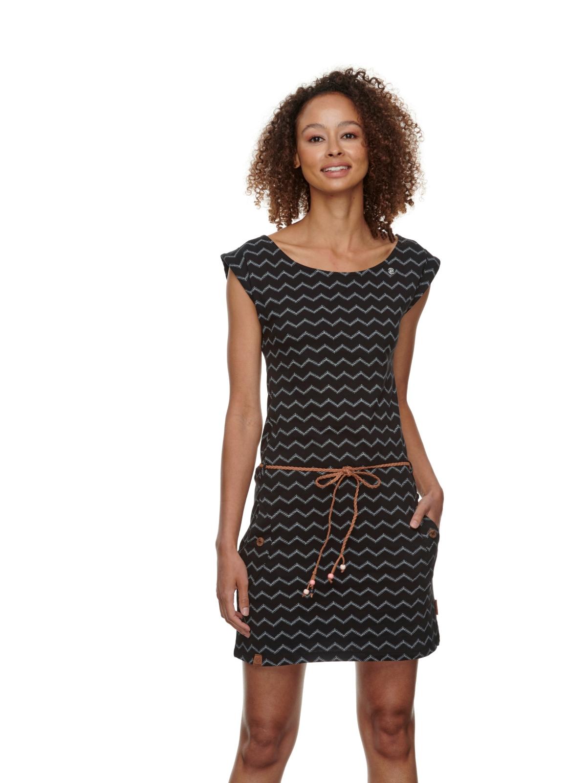 Ragwear Damen Kleid Tag Chevron schwarz weiß gemustert 2111 20016 1010 black