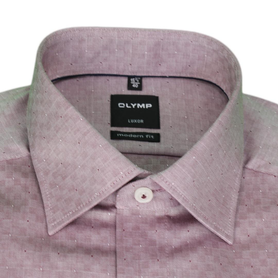 Olymp Modern Fit Hemd rot strukturiert Minimal Muster 1222 44 39