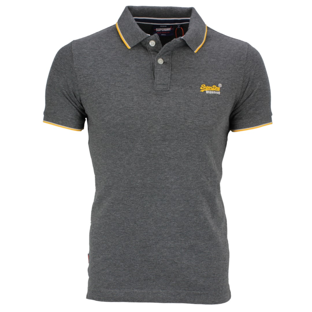 Superdry Herren Polo Shirt Pool Side Piqué grau M1110013A NLN black grey