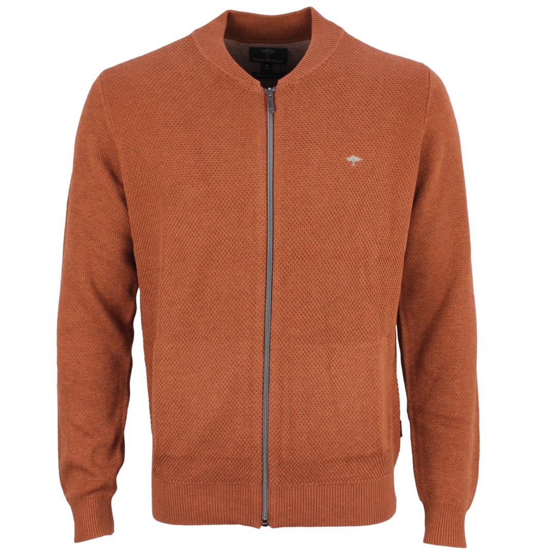 Fynch Hatton Herren Strickjacke Terracotta orange Strukturiert 1219207 236